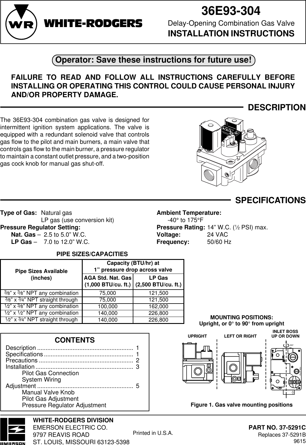 White Rodgers 36E93 304 Users Manual 37 5291C
