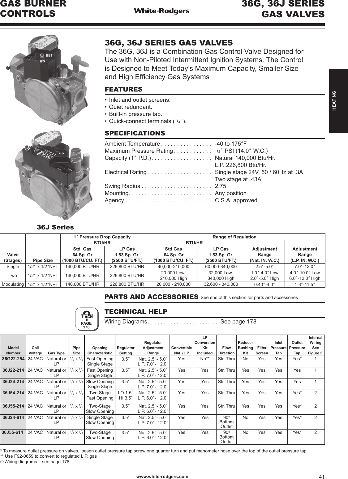 White Rodgers 36g22 254 36g Series Gas Valve Catalog Page 41 Of High Efficiency Wiring Diagram R 4425