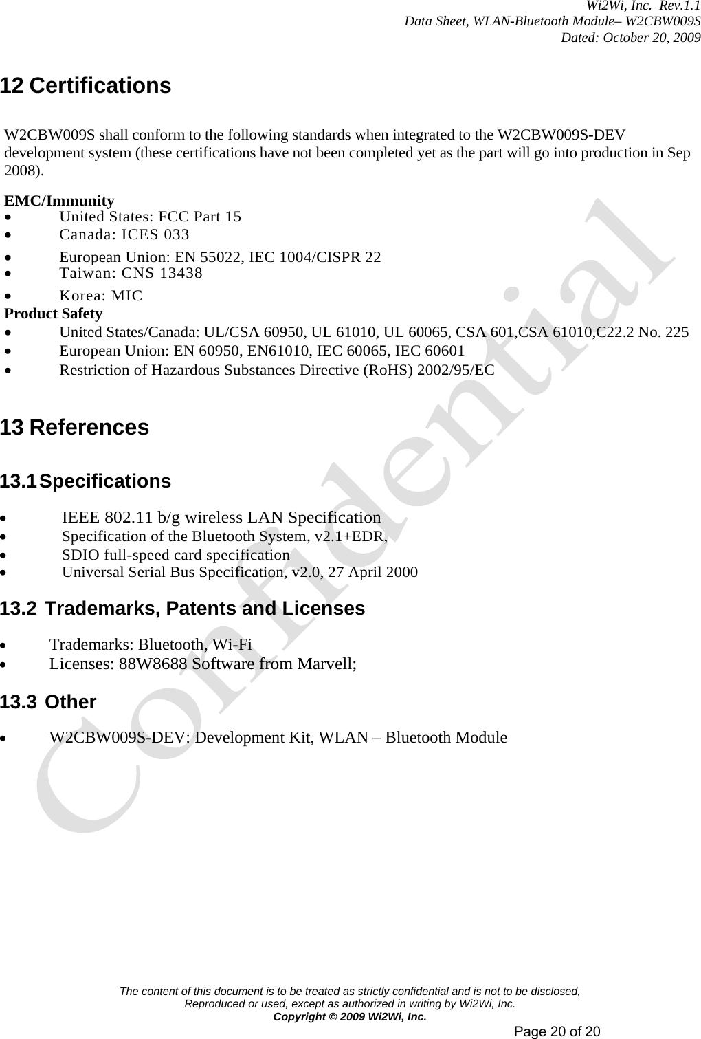 Wi2Wi W2CBW009S WLAN-Bluetooth Module User Manual W2CBW009S