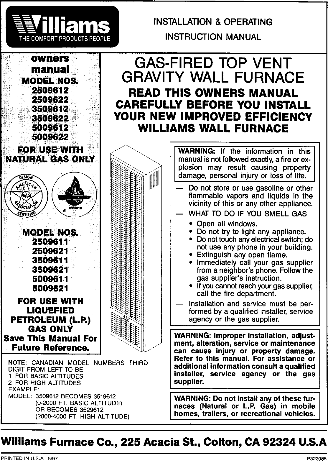 Williams 2509611 User Manual MONTEREY TOP VENT HOME FURNACE Manuals And  Guides L0408222UserManual.wiki