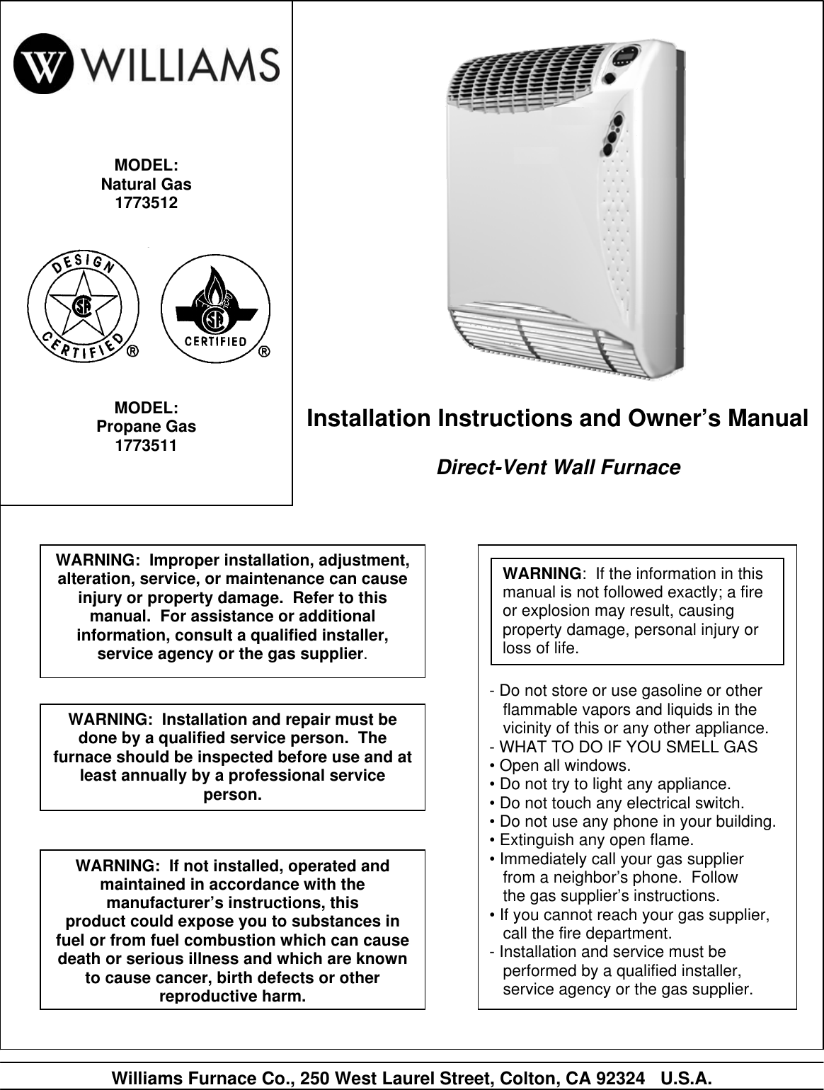 Williams 1773511 Users Manual Sezione 1 Top Vent Wall Furnace Wiring Diagrams