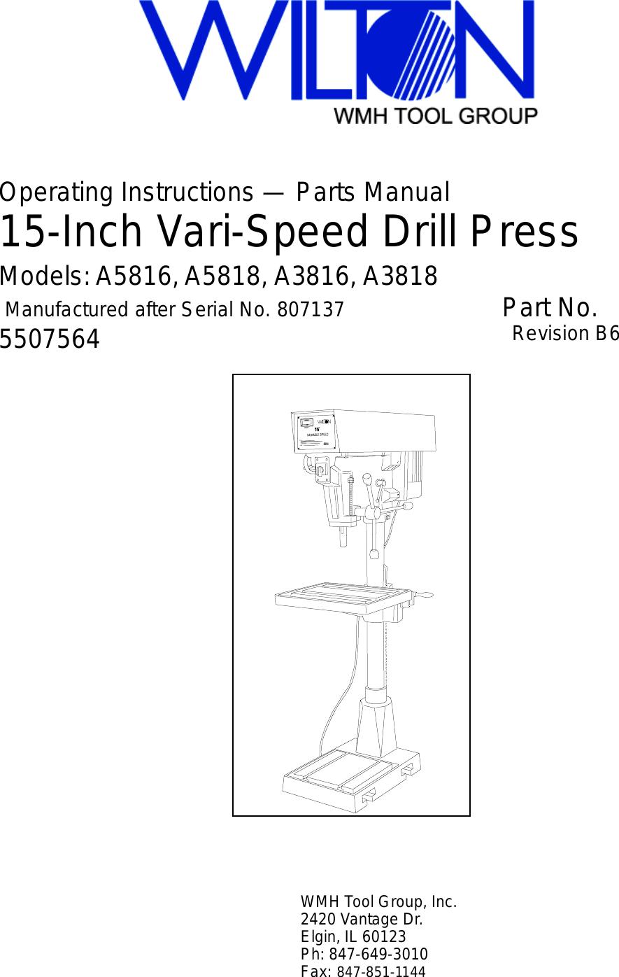 Wilton A3816 Users Manual A5816 Rev B6 Vise Parts Diagram