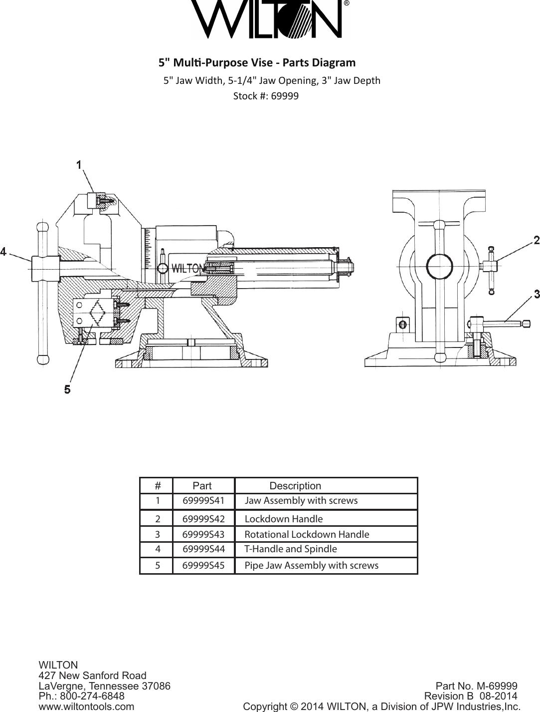 Wilton Multi Purpose Vise 69999 Users Manual 5inch Rev A Parts Diagram