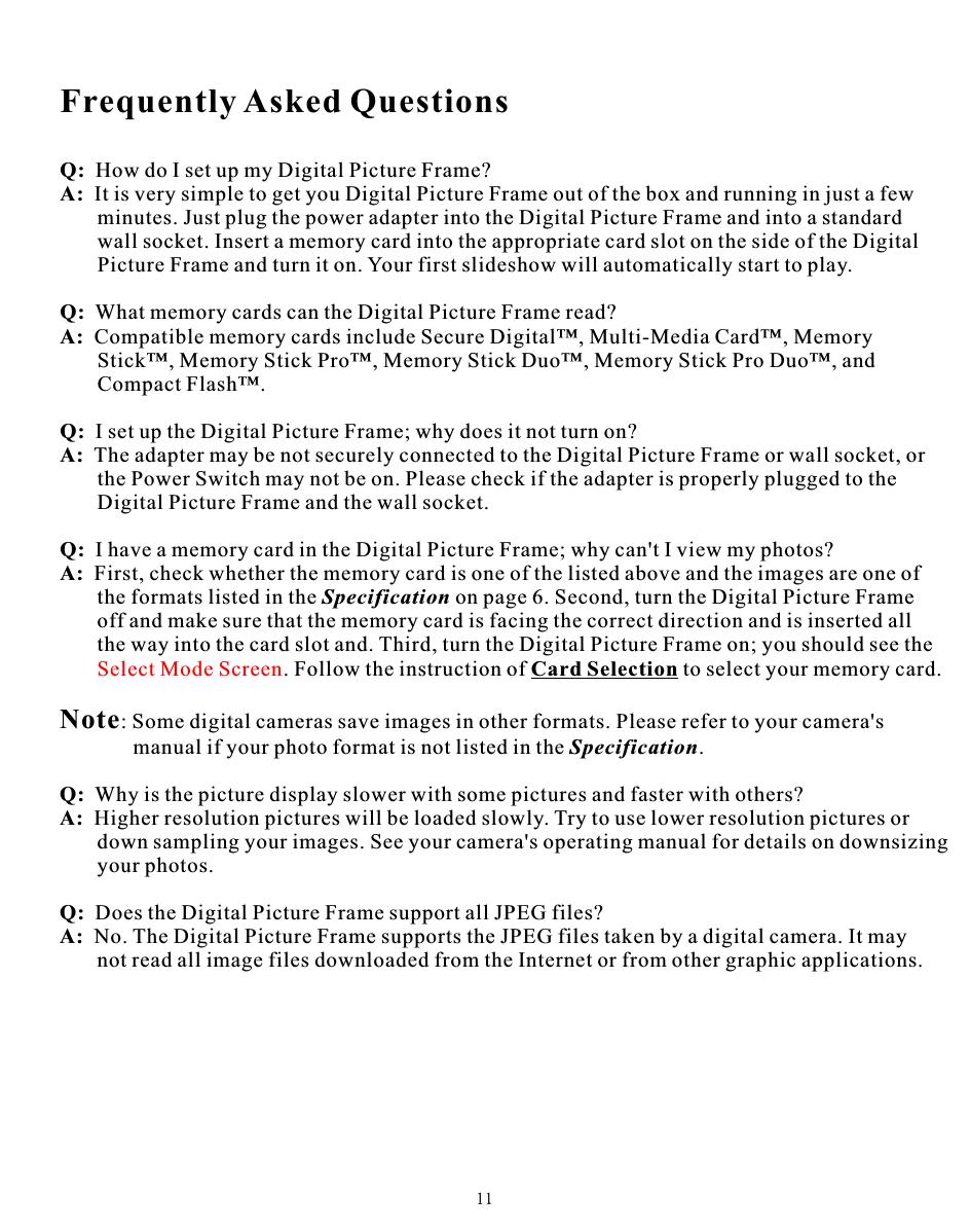 Win Accord 6226-19W Digital Photo Frame User Manual