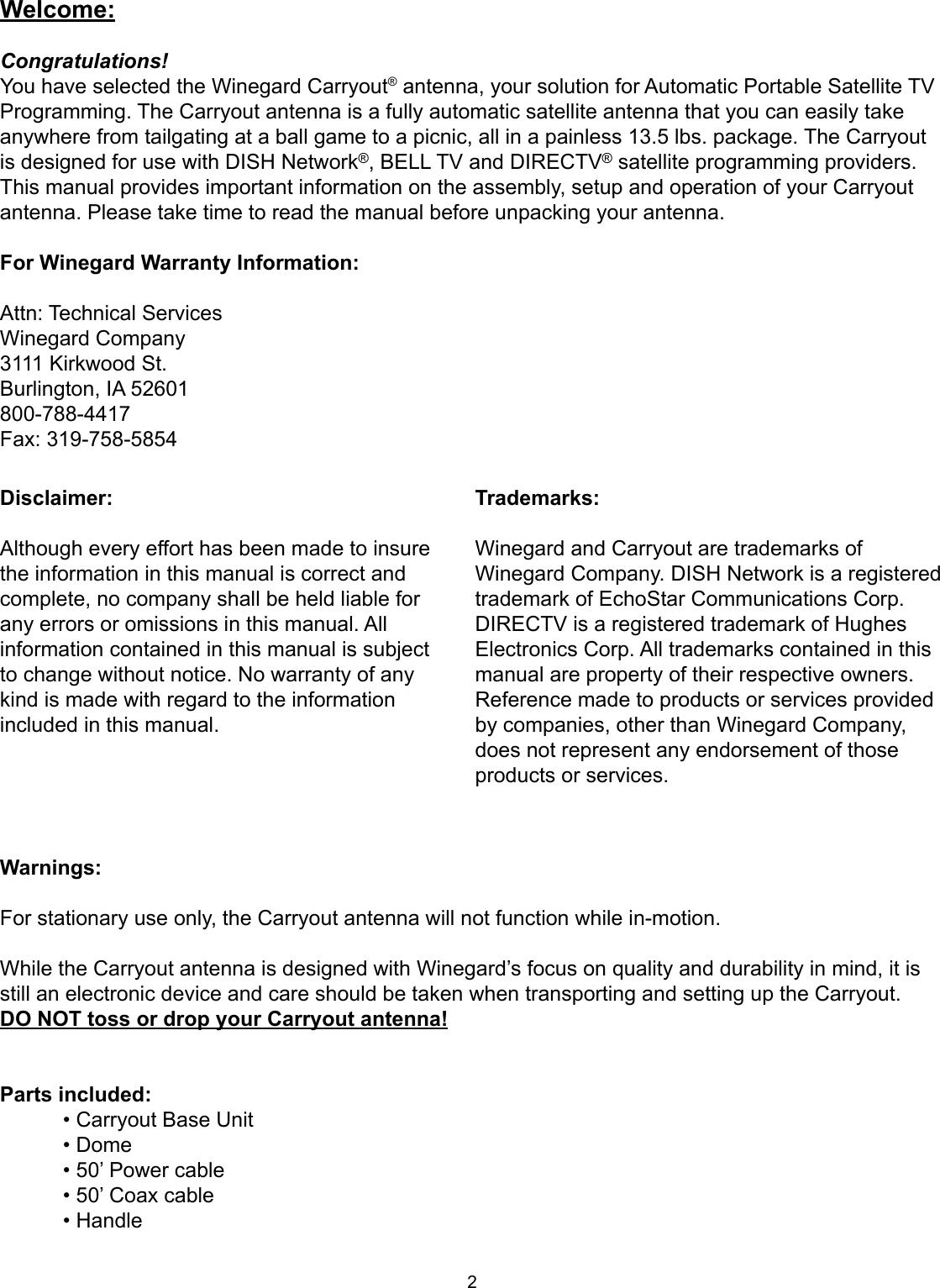 Winegard Gm 1518 Users Manual