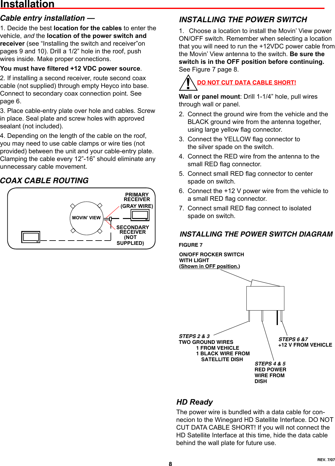Winegard Satellite Tv System Mv3500a Users Manual Wiring Diagram Page 8 Of 12