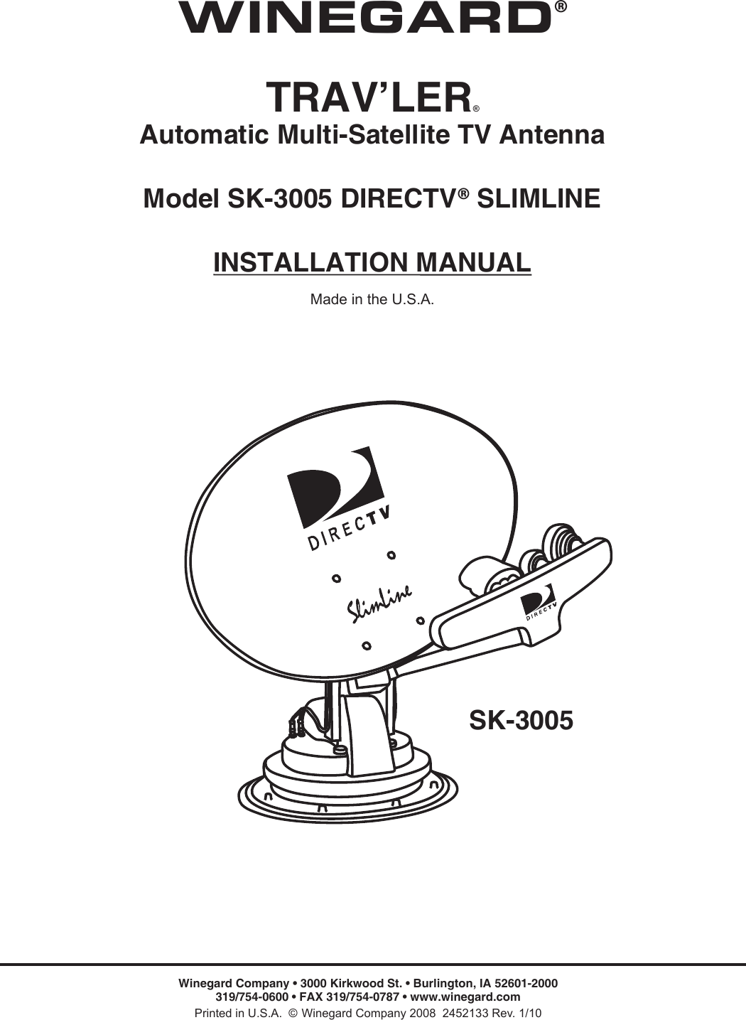 Winegard Satellite Tv System Sk 3005 Users Manual Wiring Diagram Page 1 Of 12
