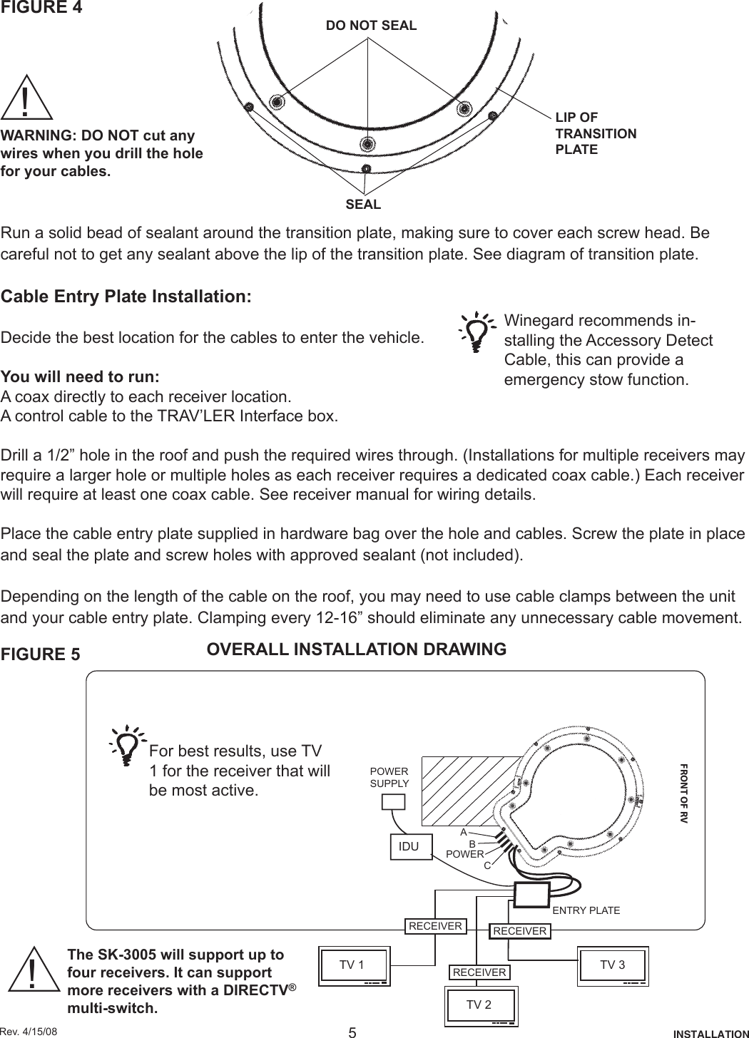 Winegard Satellite Tv System Sk 3005 Users Manual Multiple Receivers For Wiring Diagram Page 5 Of 12