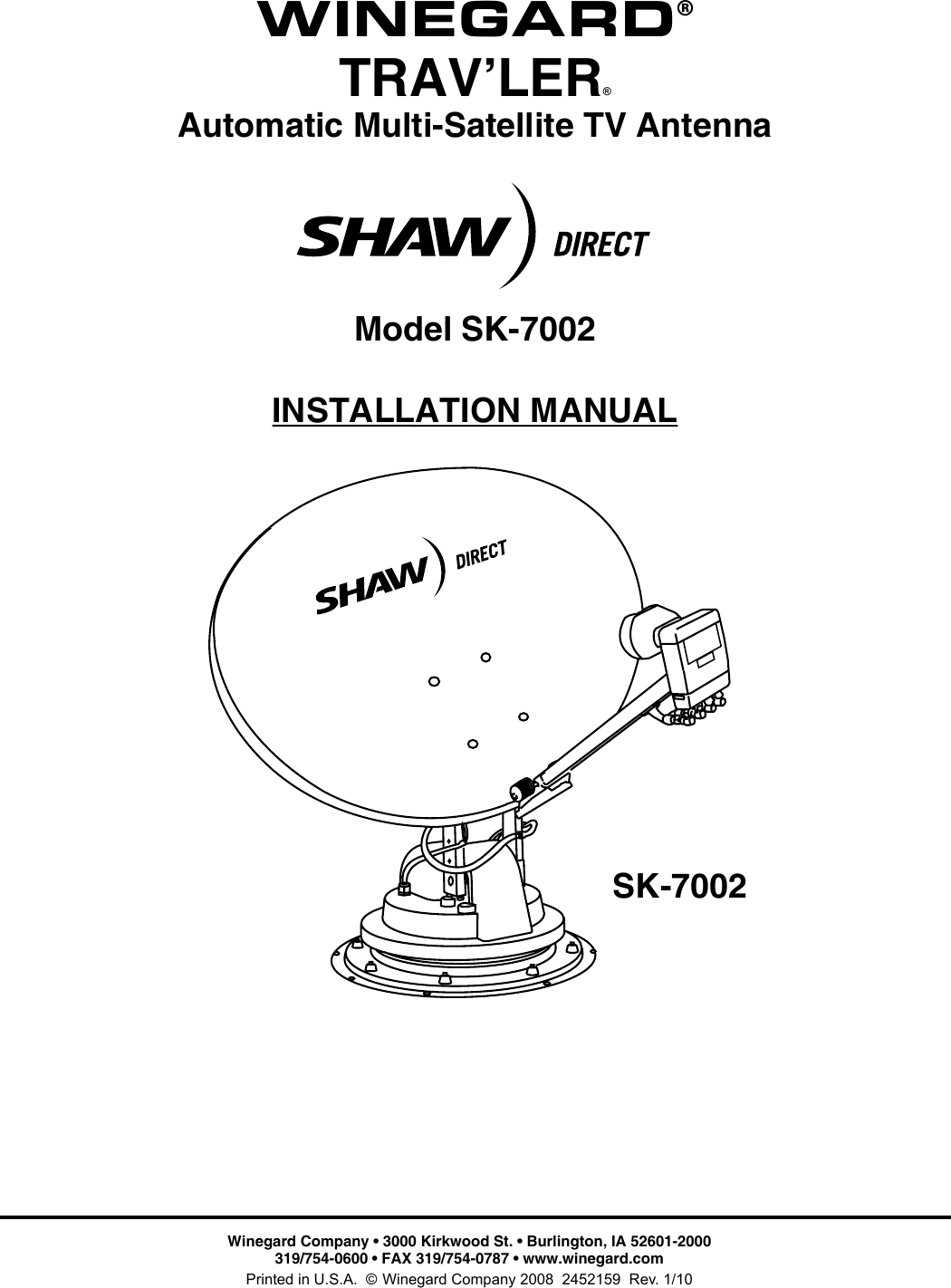 Winegard Satellite Tv System Sk 7002 Users Manual Rv Antenna Wiring Diagram Page 1 Of 12
