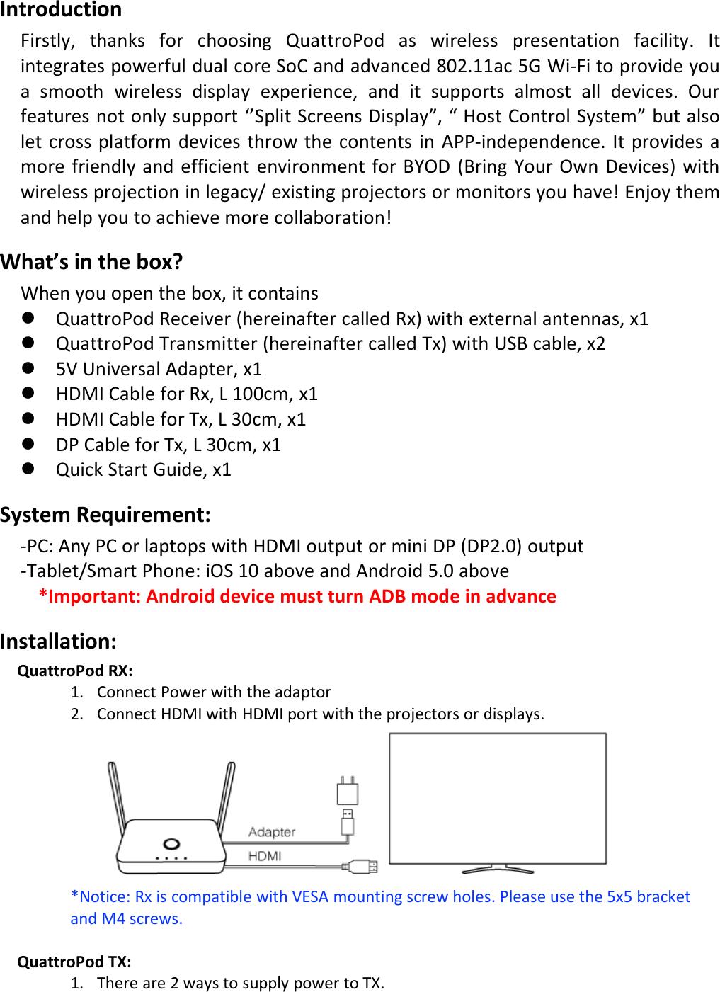 Winner Wave T01 QuattroPod User Manual QSG 0125