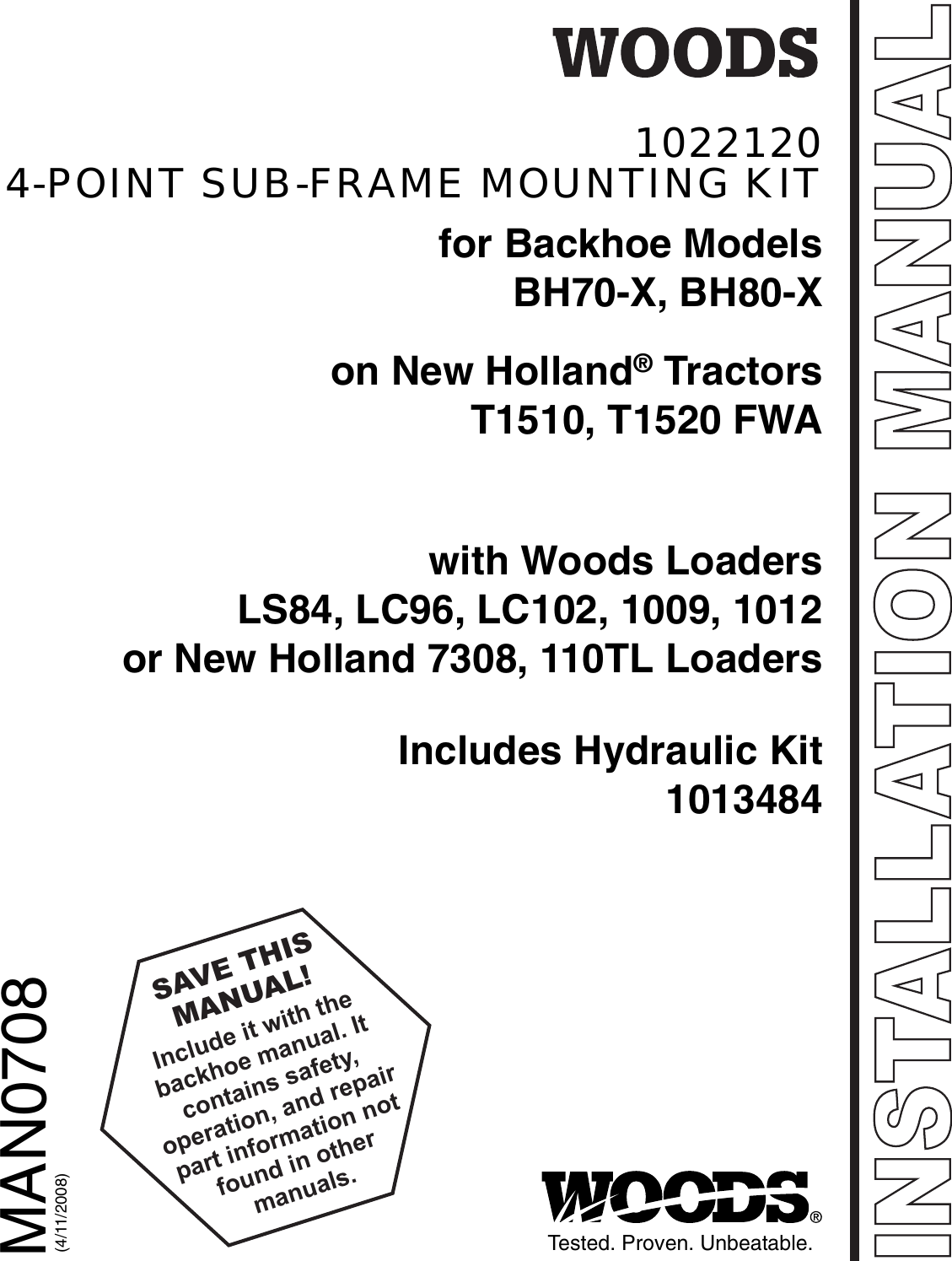 Woods Equipment 1022120 Users Manual Sub Frame Mounting Kit (BH70 X on