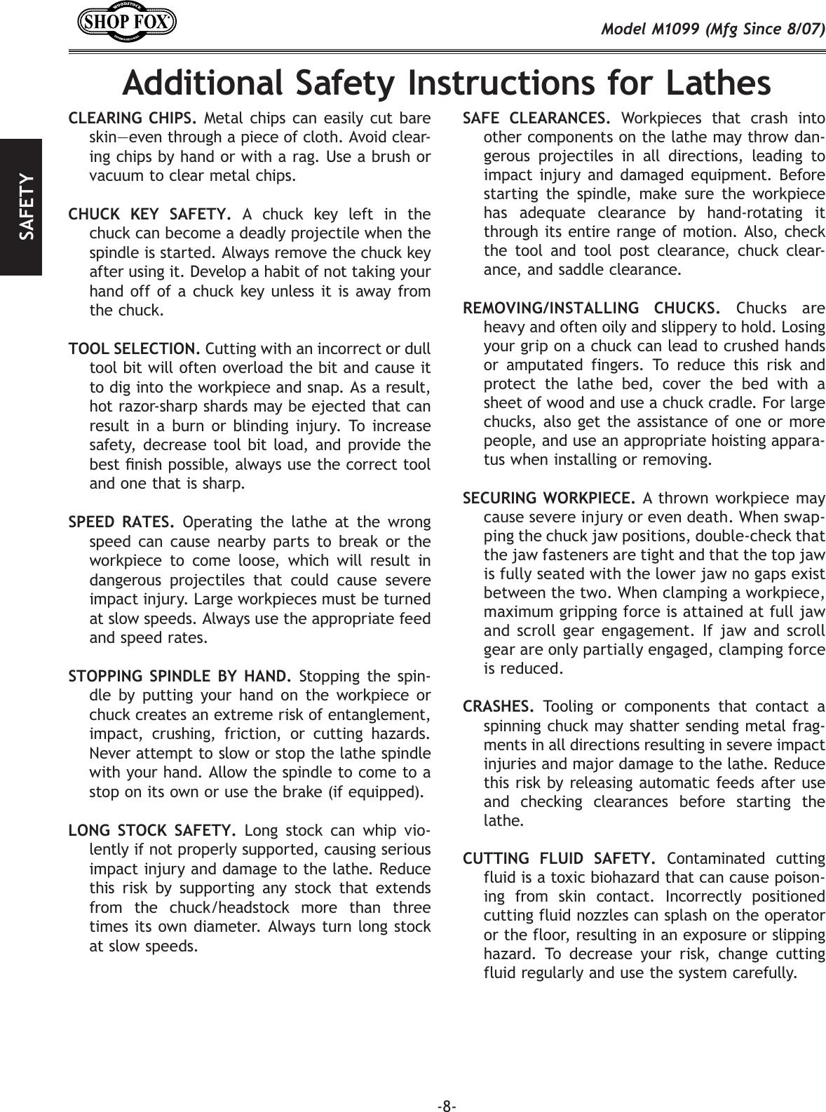 Woodstock Shop Fox M1099 Users Manual M1099_m