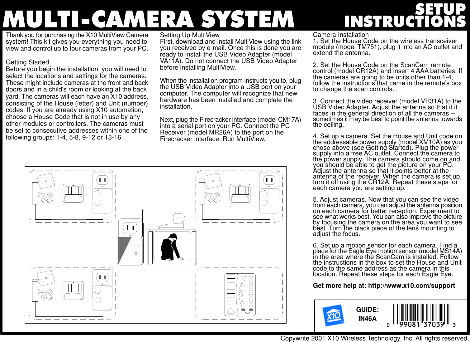 X10 Wireless Technology In46A Users Manual Multiview Multicam Setup FH9