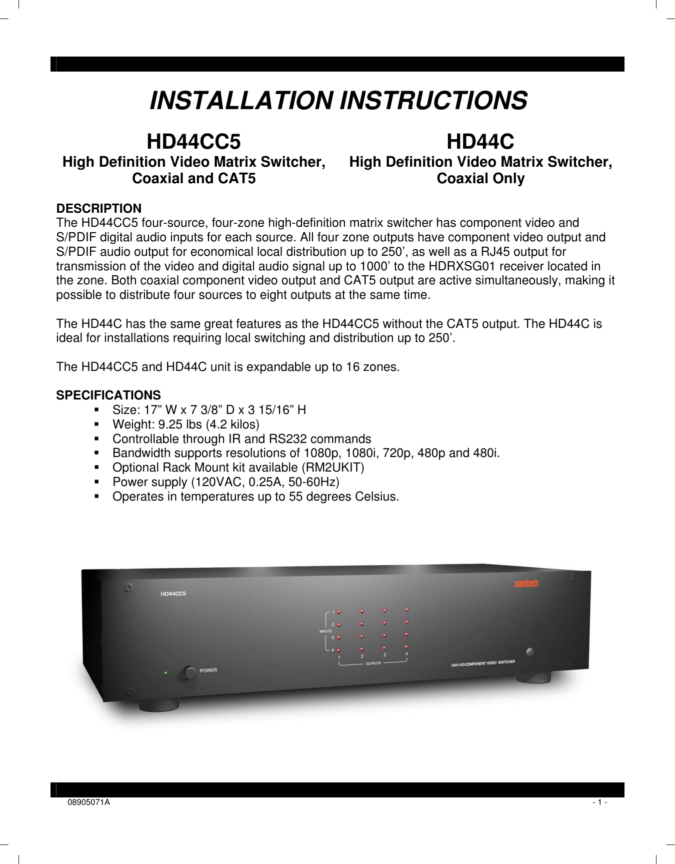 Xantech Switch Hd44C Users Manual Installation Instructions on electrical switch wiring diagram, splice in a light switch diagram, bedroom diagram,