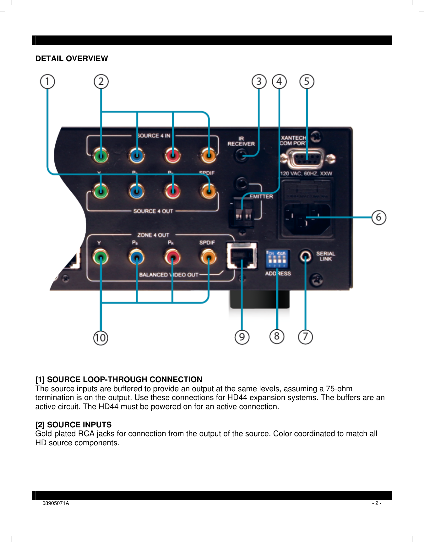 Xantech Switch Hd44C Users Manual Installation Instructions