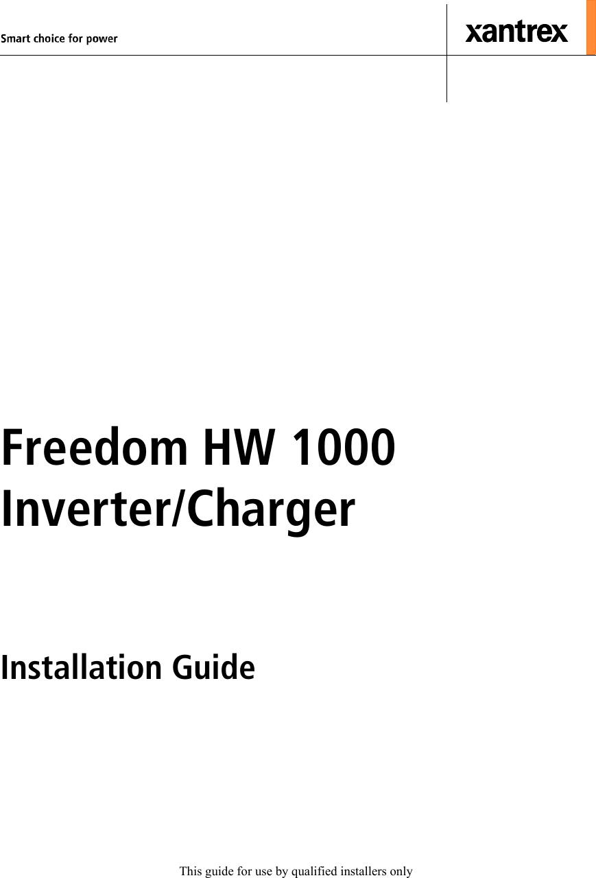 Xantrex Freedom Hw 1000 Users Manual on