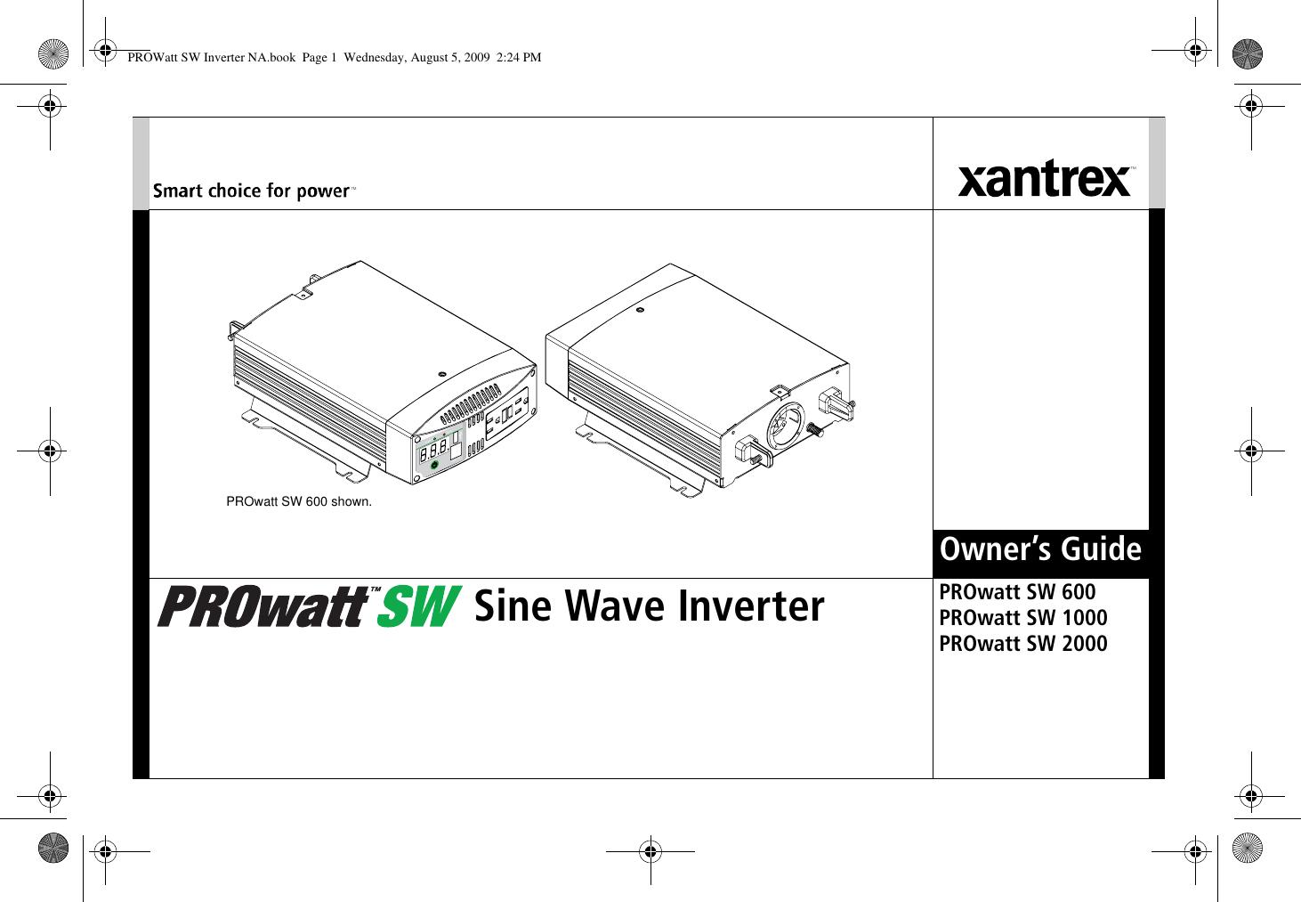 Xantrex Prowatt Sw 1000 Users Manual Inverter NA on whistler 2000 watt inverter, magnum 2000 watt inverter, combi 2000 watt inverter, freedom jazz 500 watt inverter, xantrex inverter charger 2000, aims 2000 watt power inverter, go power 2000 watt inverter,