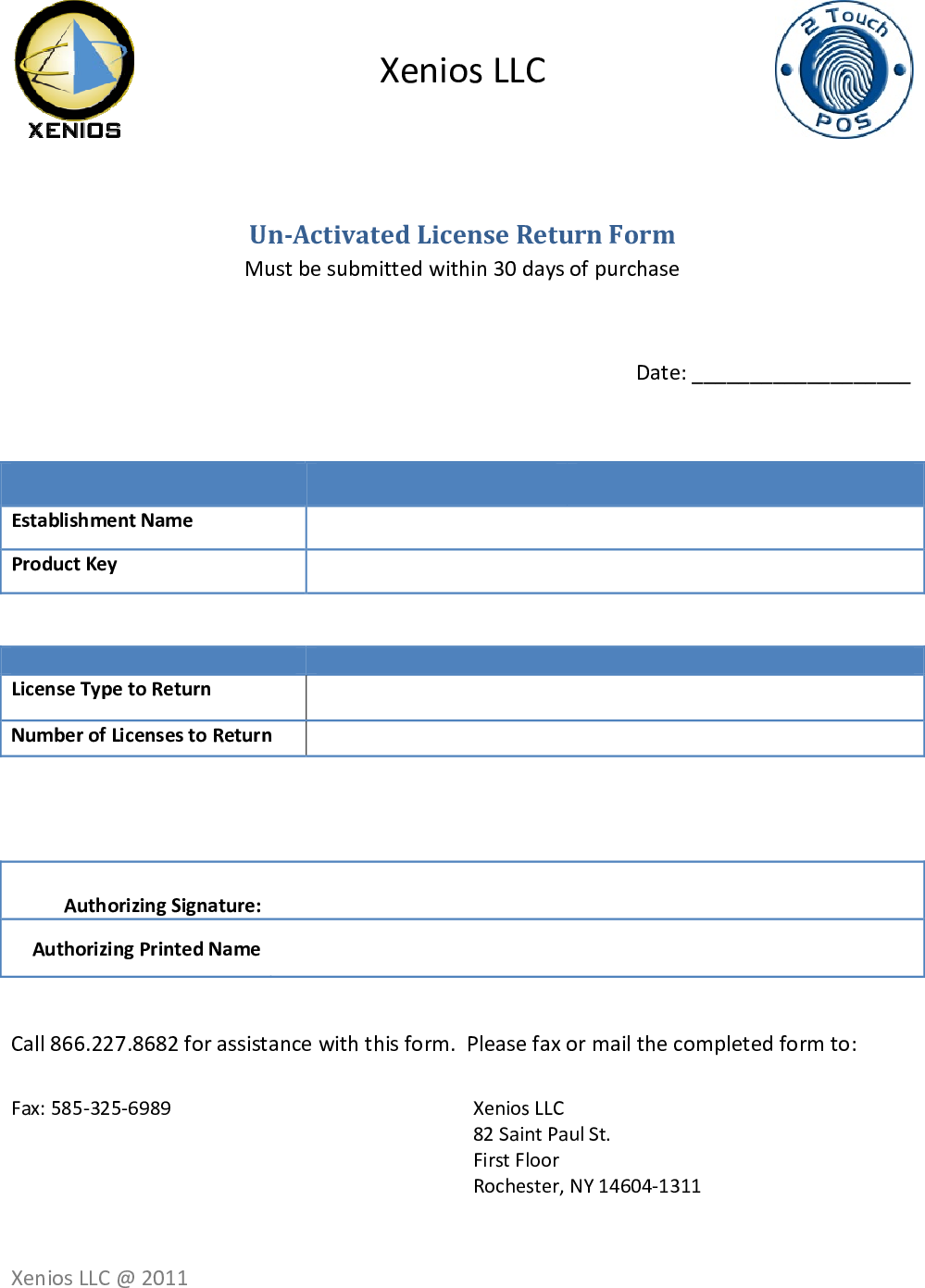 Page 2 of 2 - Un-Activated License Return Form
