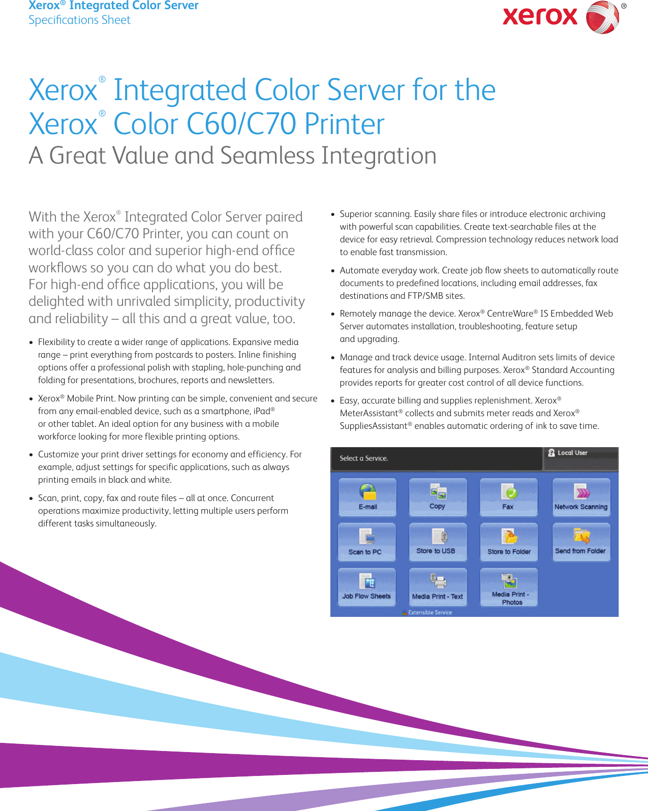 Xerox Color C60 C70 Specifications Xerox® Integrated Server