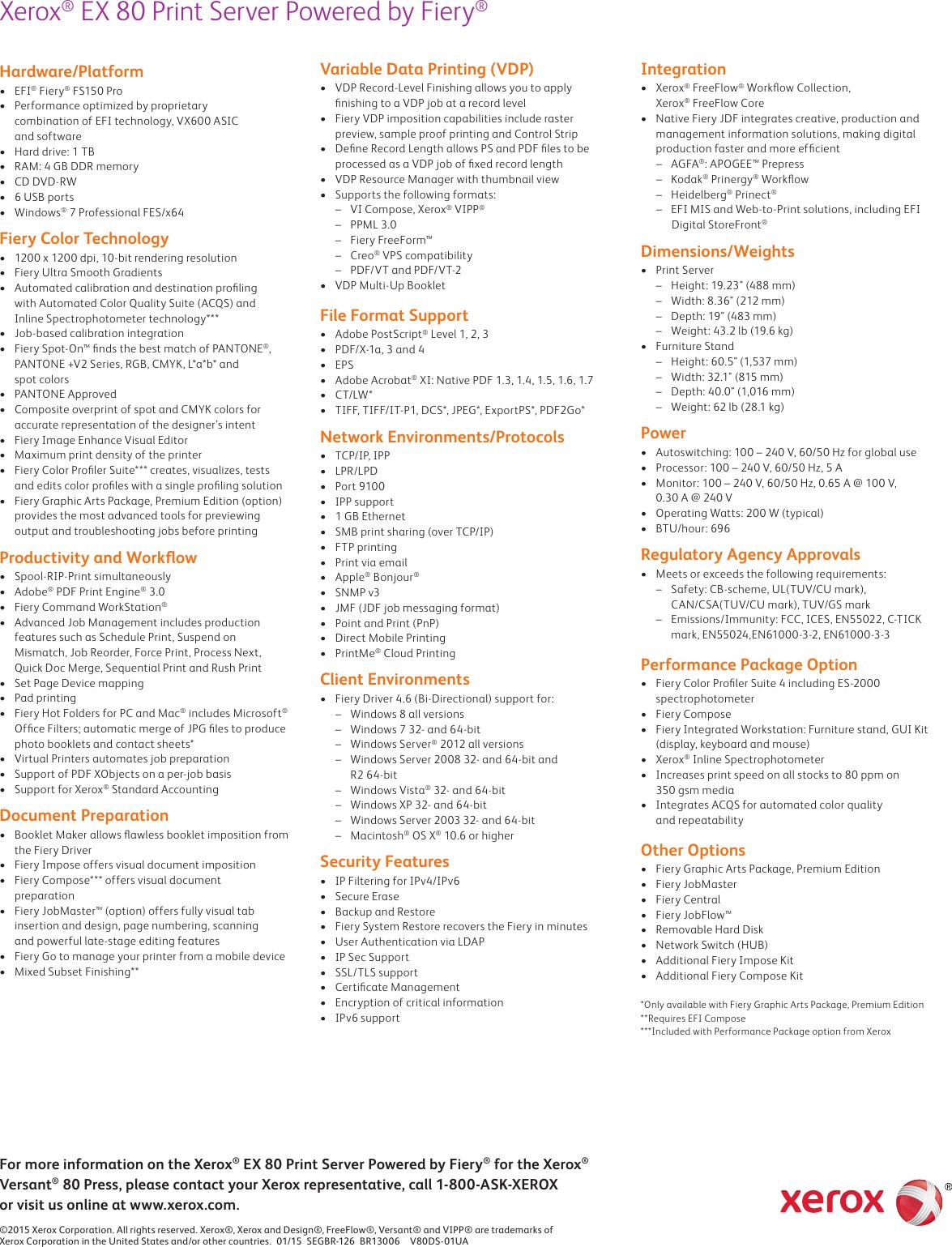 Xerox Versant 80 Press Specifications