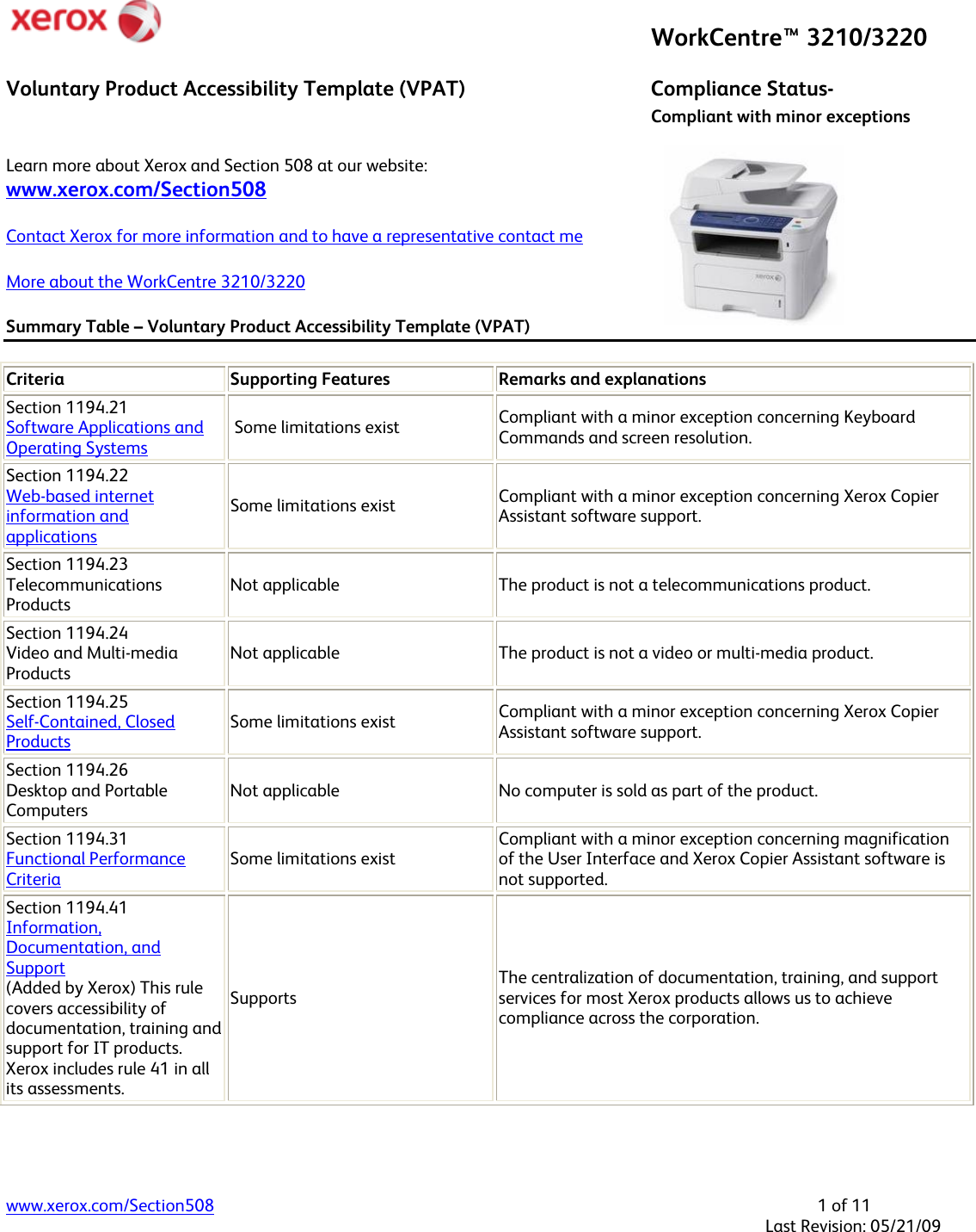 Xerox Workcentre 3210 Users Manual Voluntary Product Accessibility ...