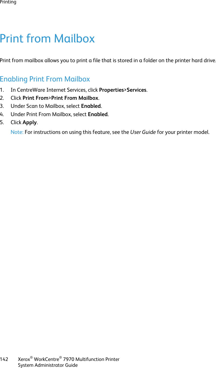 Xerox Workcentre 7970 Administrators Guide Xerox® WorkCentre
