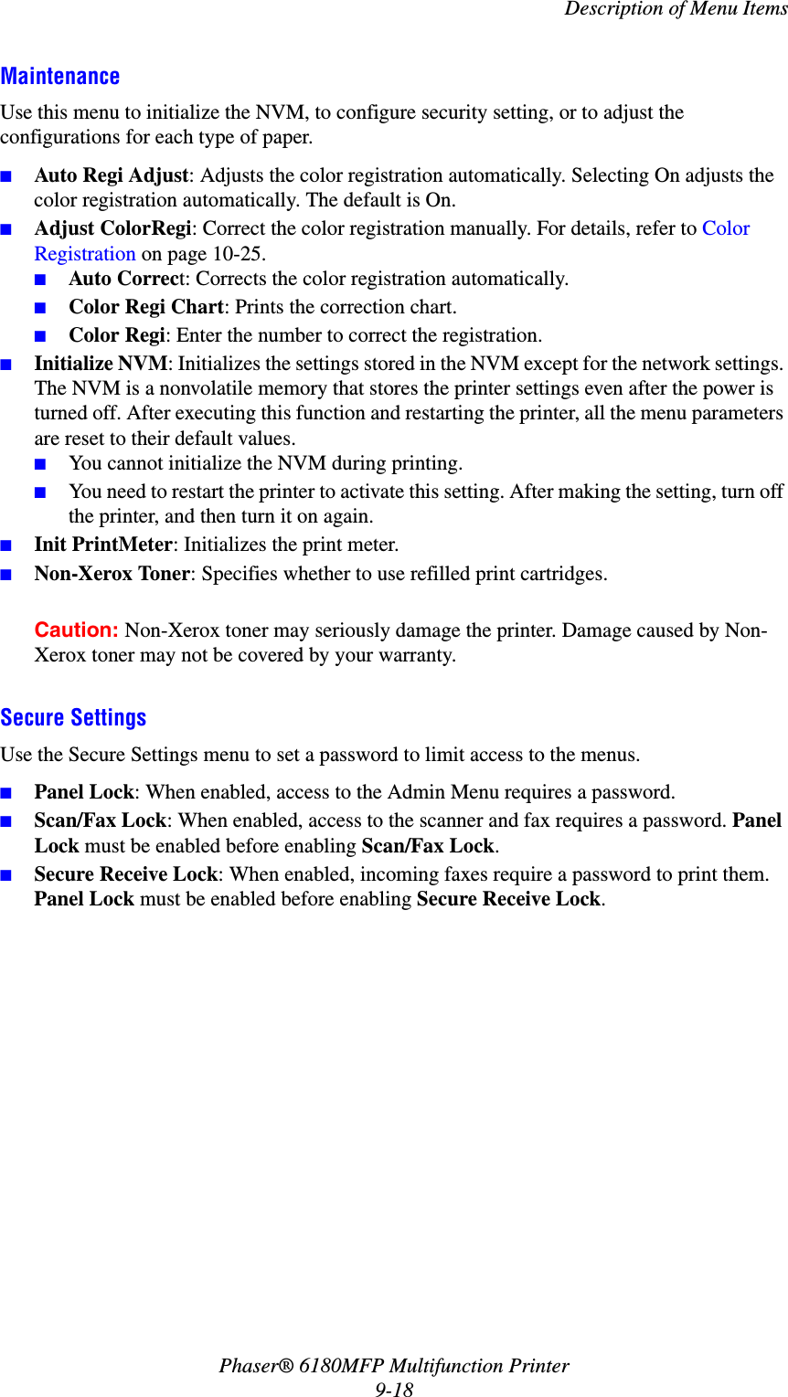 Xerox Phaser® 6180MFP Multifunction Printer User Guide If