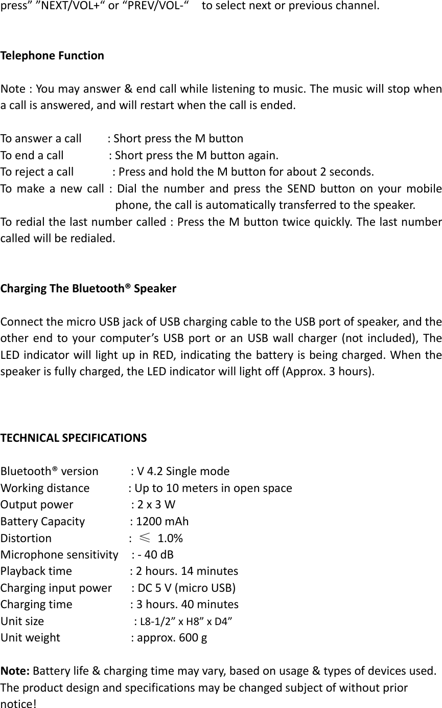 XinHuaMei Electronics BTS-C28 Bluetooth Speaker User Manual BTS C28