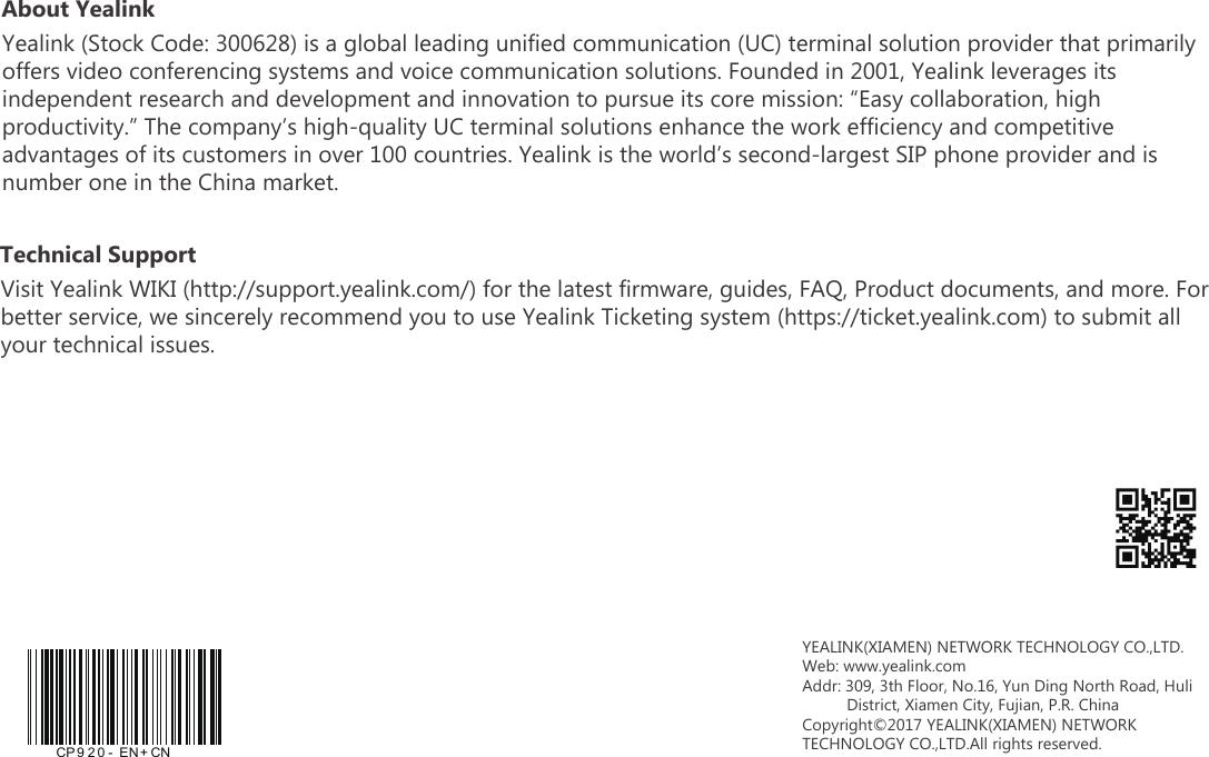 YEALINK CP920 HD IP Conference Phone User Manual Yealink