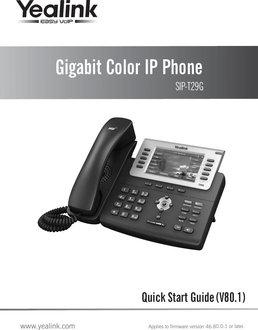 Yealink T29g Ip Phone User Manual 29 8 Manual Guide