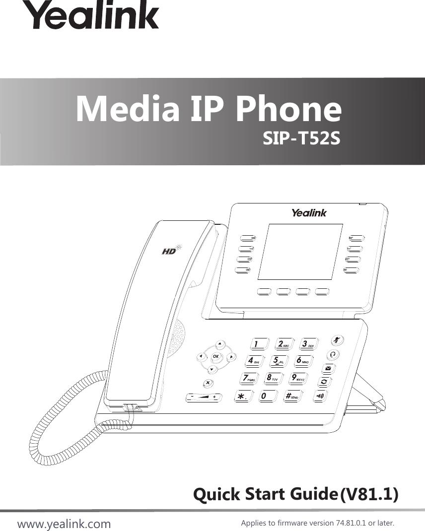Yealink T52s Media Ip Phone User Manual Yealink Sip T52s Manual Guide
