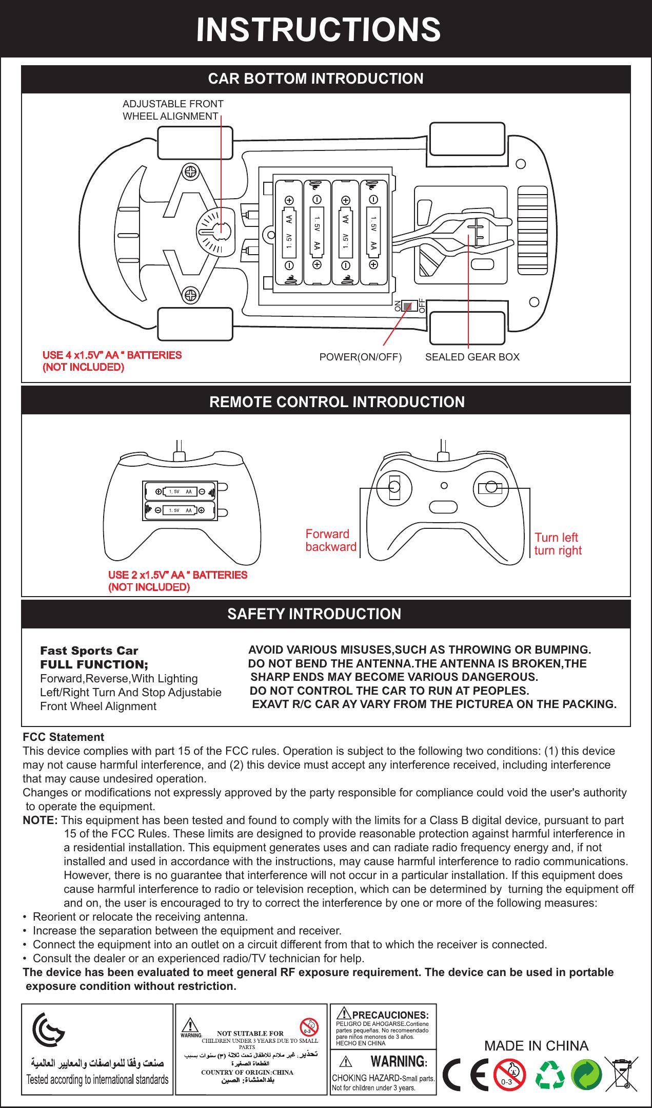 Yueda Toys Factory Yd 388 Radio Control Car Toys User Manual