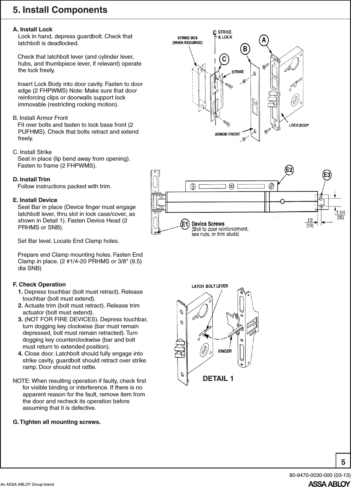 Yale 2 7130f Series Mortise Exit Devices Installation Instructions Wiring Schematic Page 5 Of 6