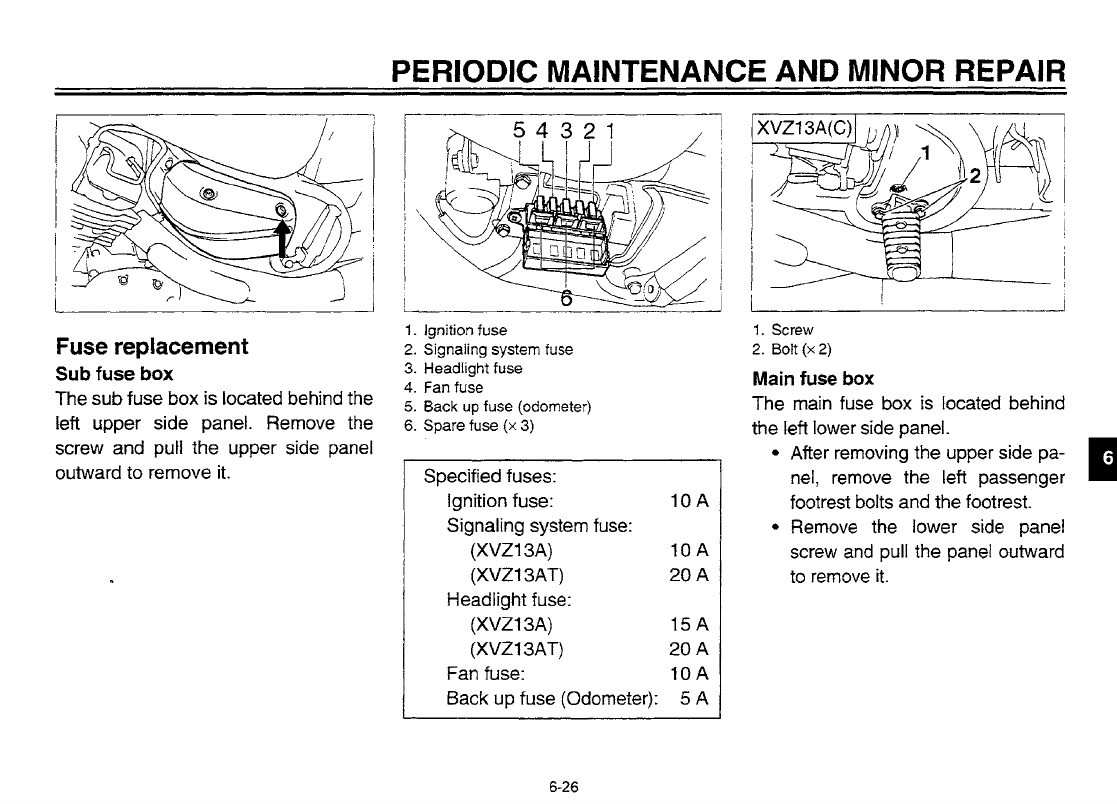 Yamaha 1998 Royal Star Tour Classic Owners Manual Lit116261123 X3 Fuse Box