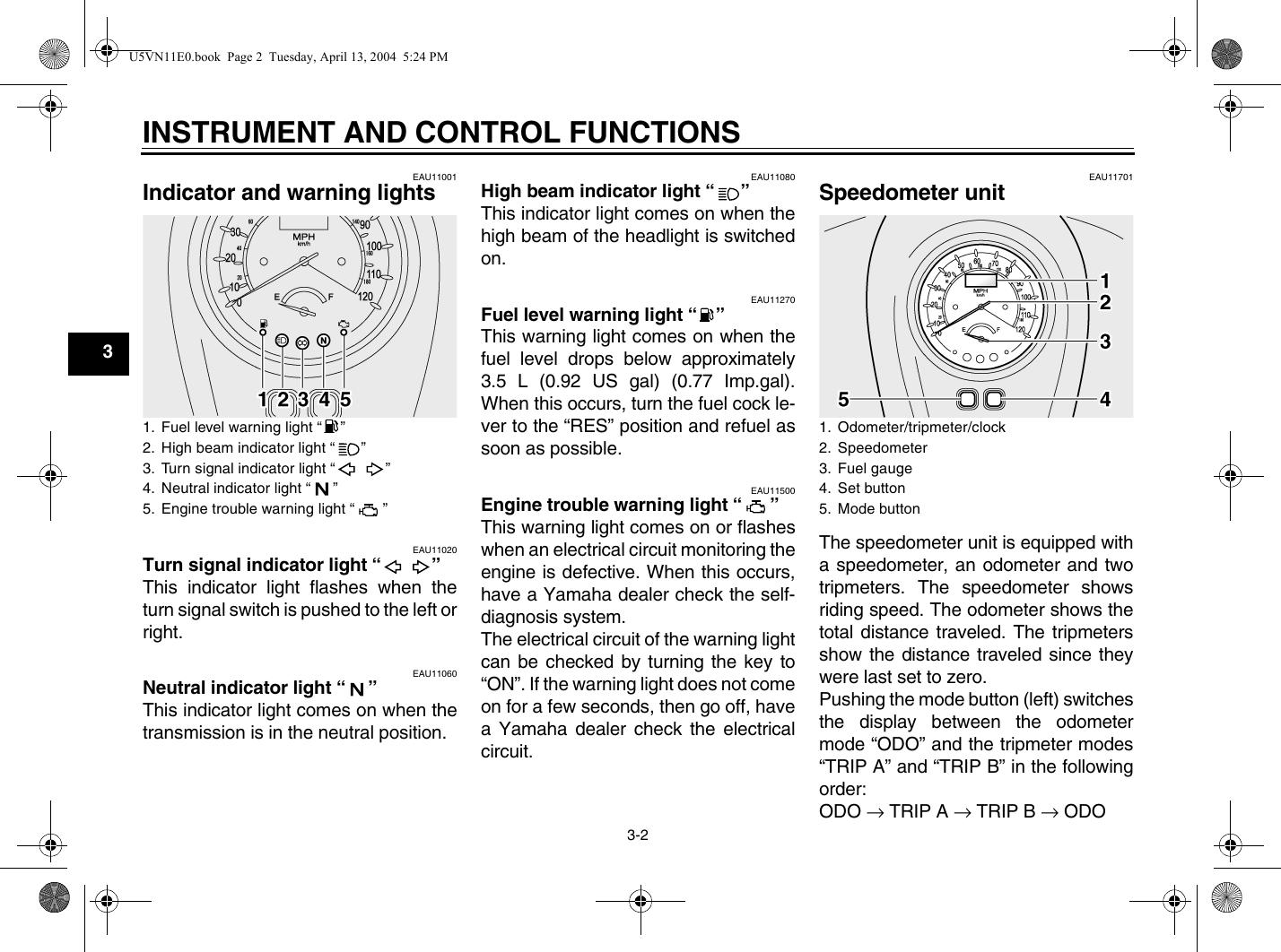 Yamaha 2005 Road Star Midnight Owners Manual XV17AT(C)/AWT(C)/AMT(C