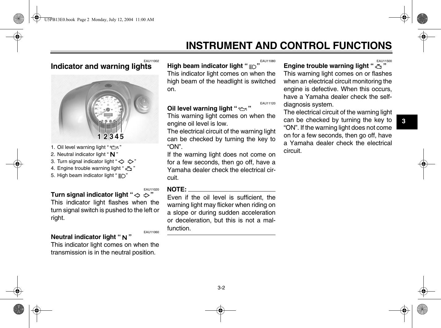 Yamaha 2005 V Star 1100 Custom Owners Manual