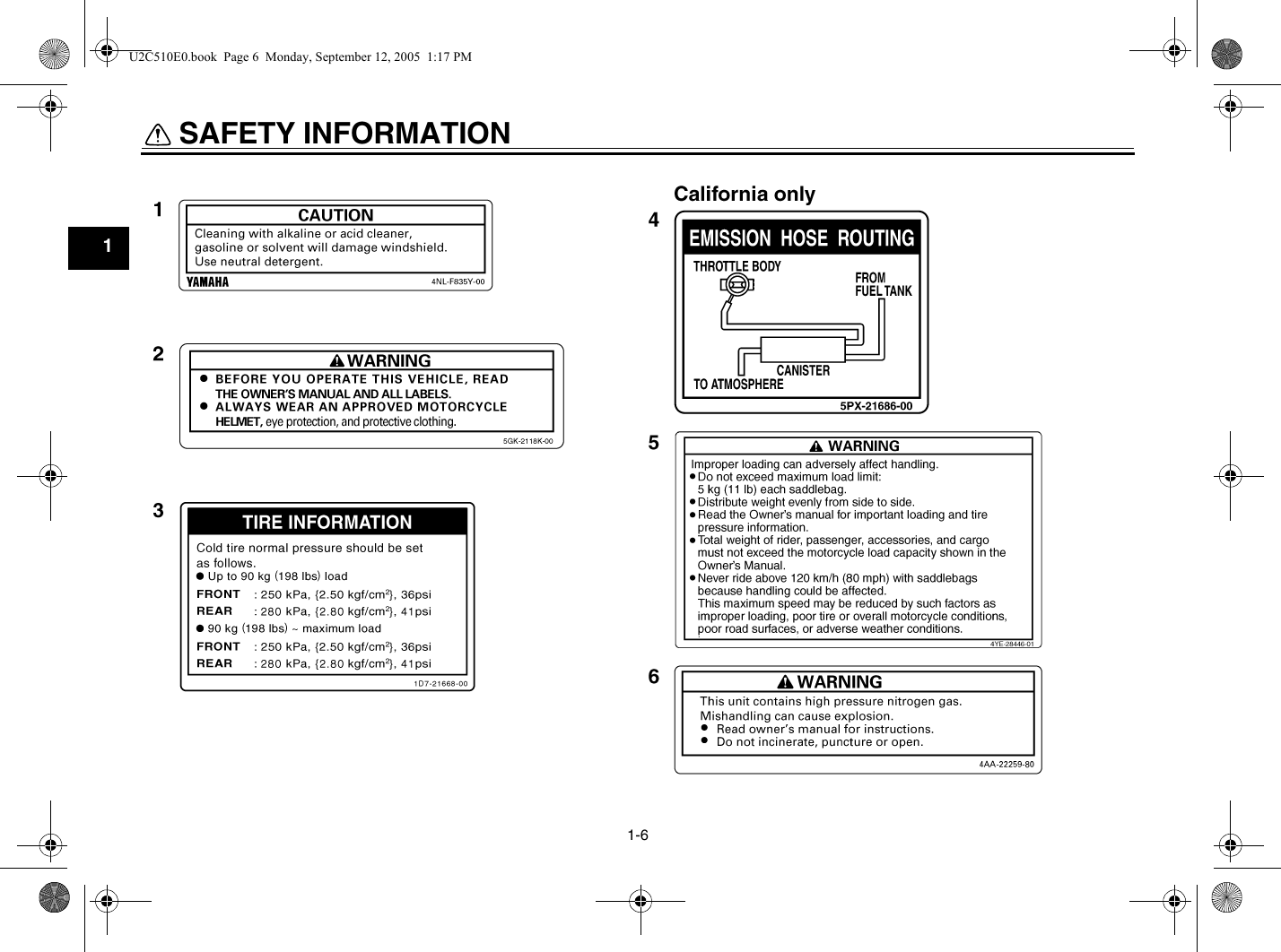 Yamaha 2006 Stratoliner Owners Manual XV19CTSV(C)/CTV(C ... on