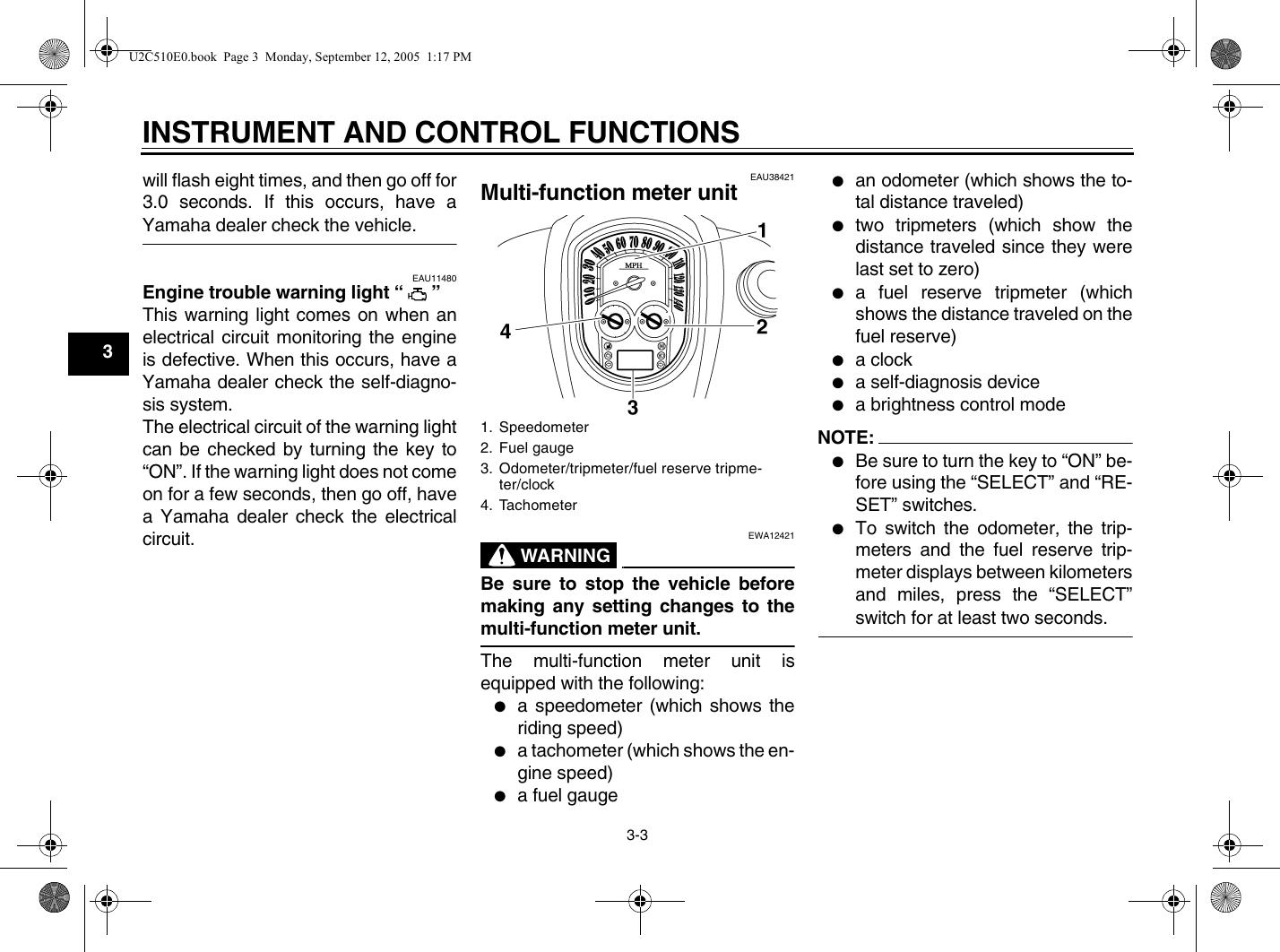 Yamaha 2006 Stratoliner Owners Manual XV19CTSV(C)/CTV(C