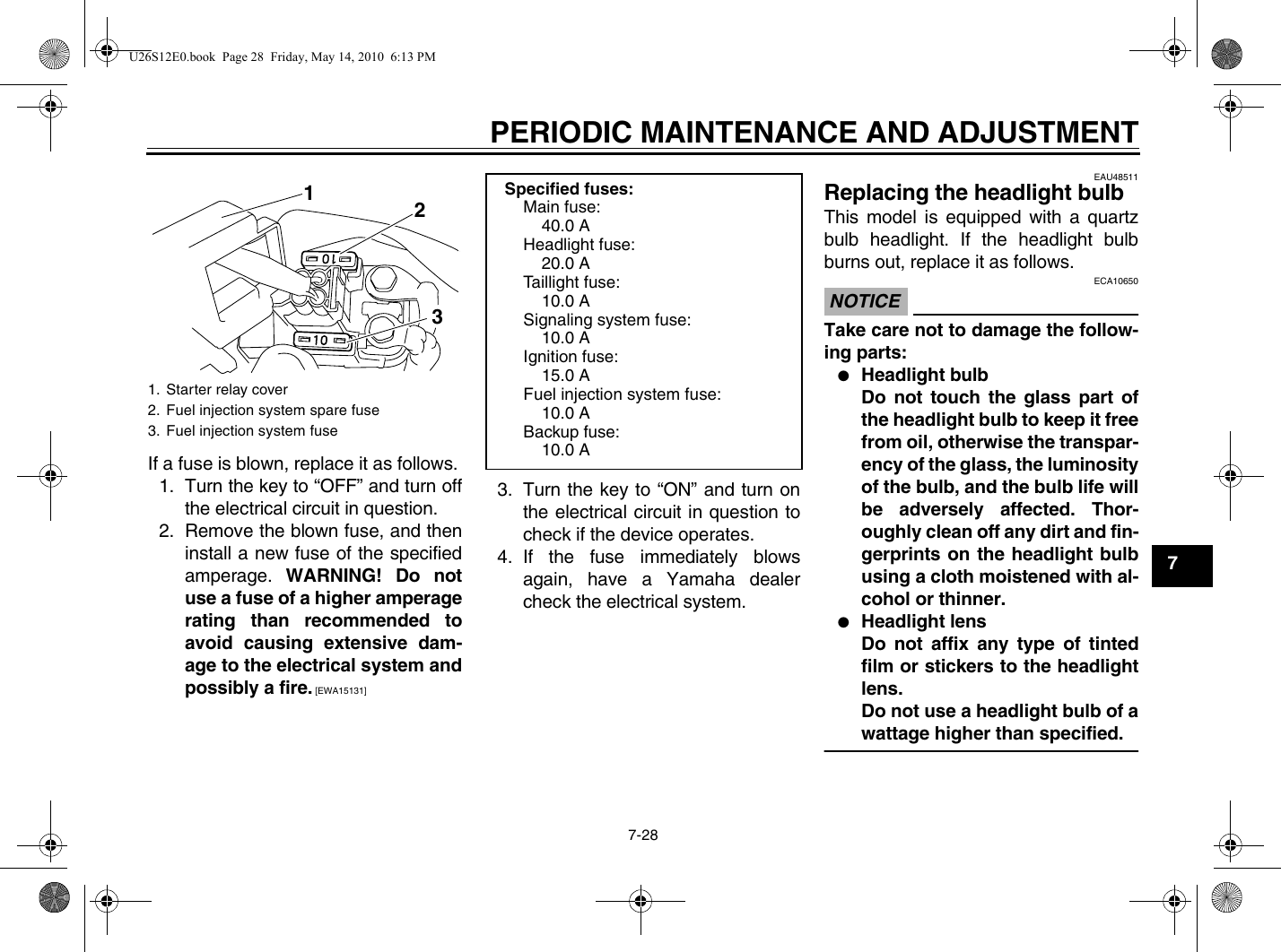 Yamaha 2011 V Star 950 Tourer Owners Manual
