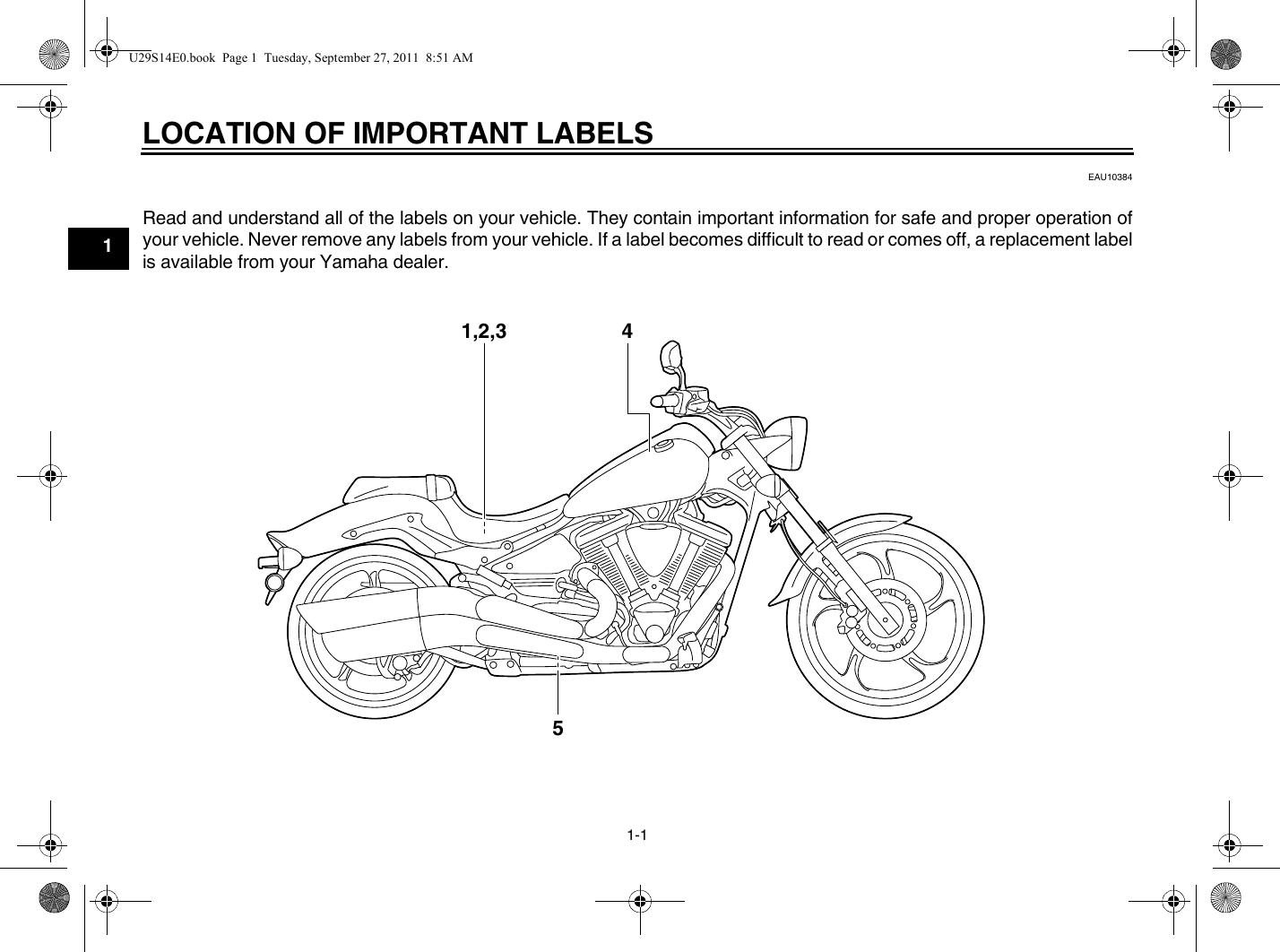 Yamaha 2012 Raider Owners Manual