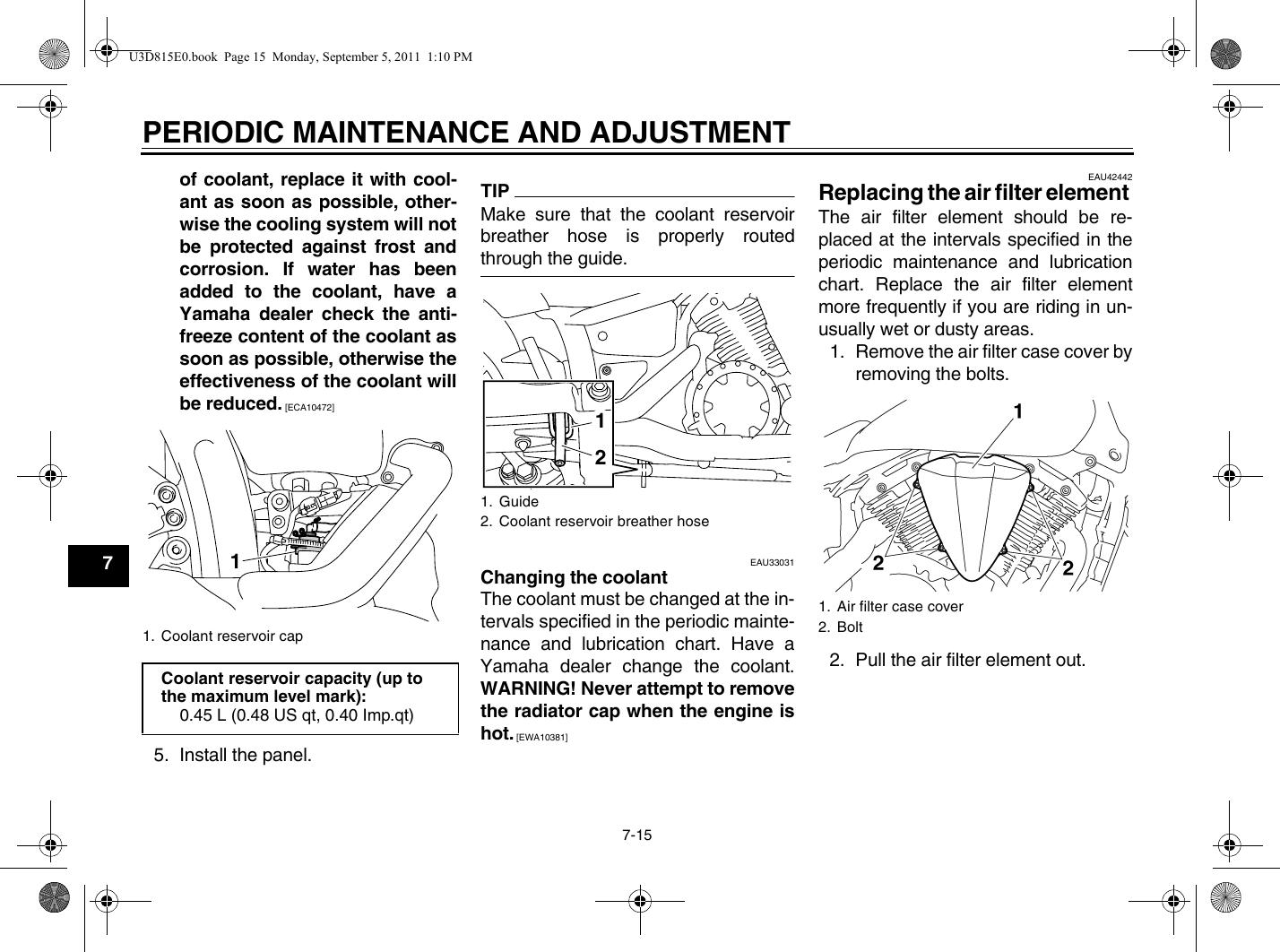Yamaha 2012 V Star 1300 Owners Manual