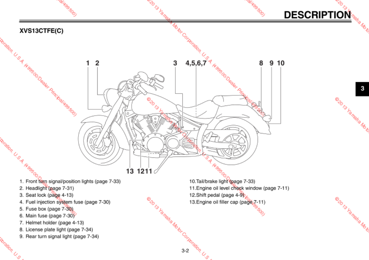 Yamaha 2014 V Star 1300 Tourer Owners Manual Road Fuse Box Diagram Extended Service Yes