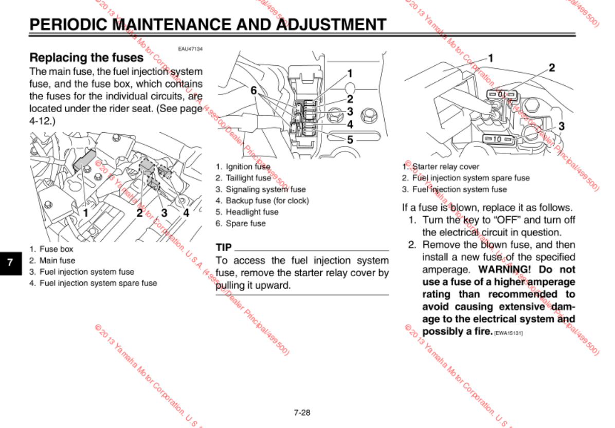 Yamaha Road Star Fuse Box Diagram 2014 V 950 Owners Manual Extended Service Yes