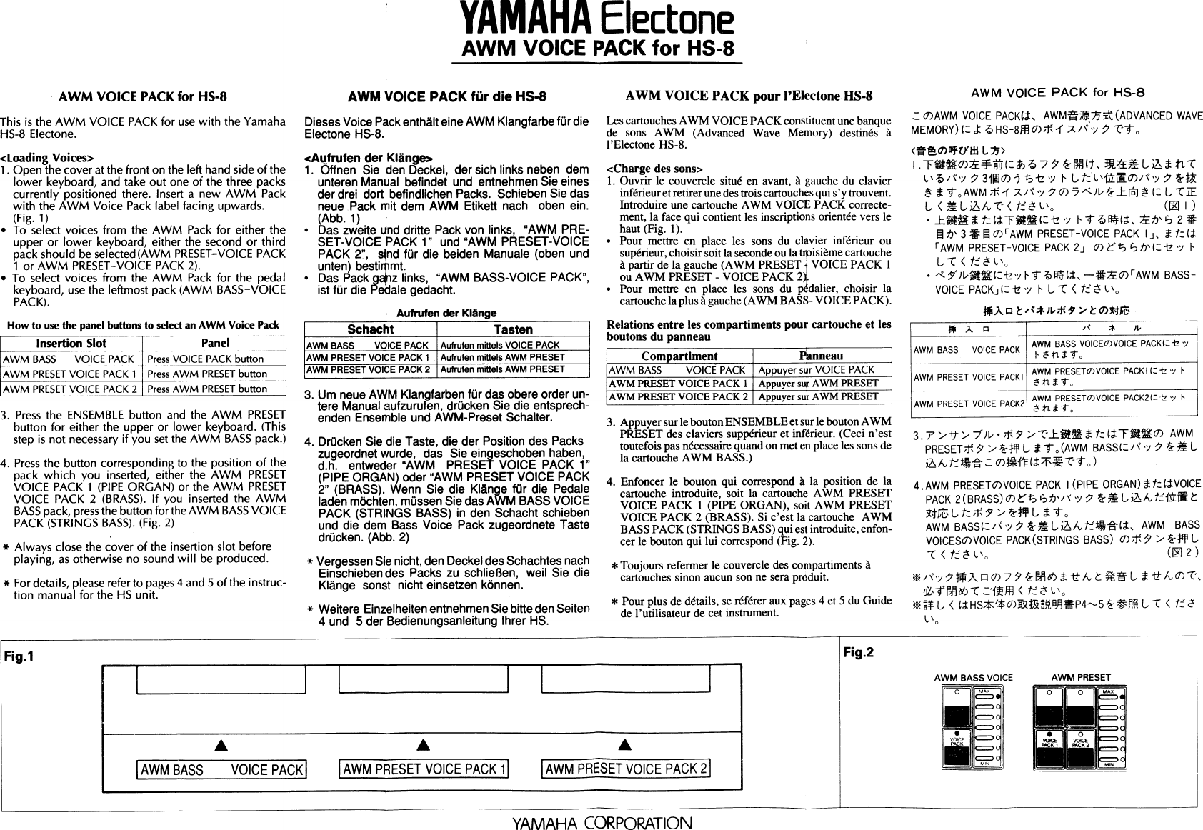 Yamaha AVP 006 (RHYTHM VOICE PACK For HS 8) Owner's Manual AVP006E