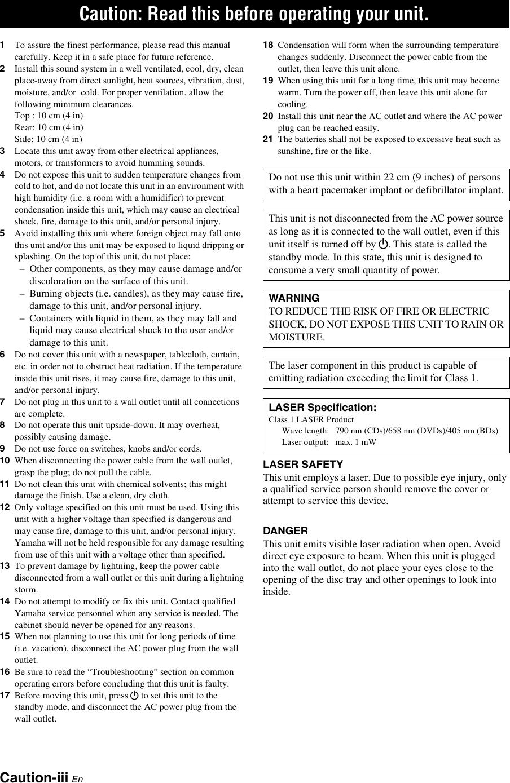 Yamaha Bd A1020 Users Manual