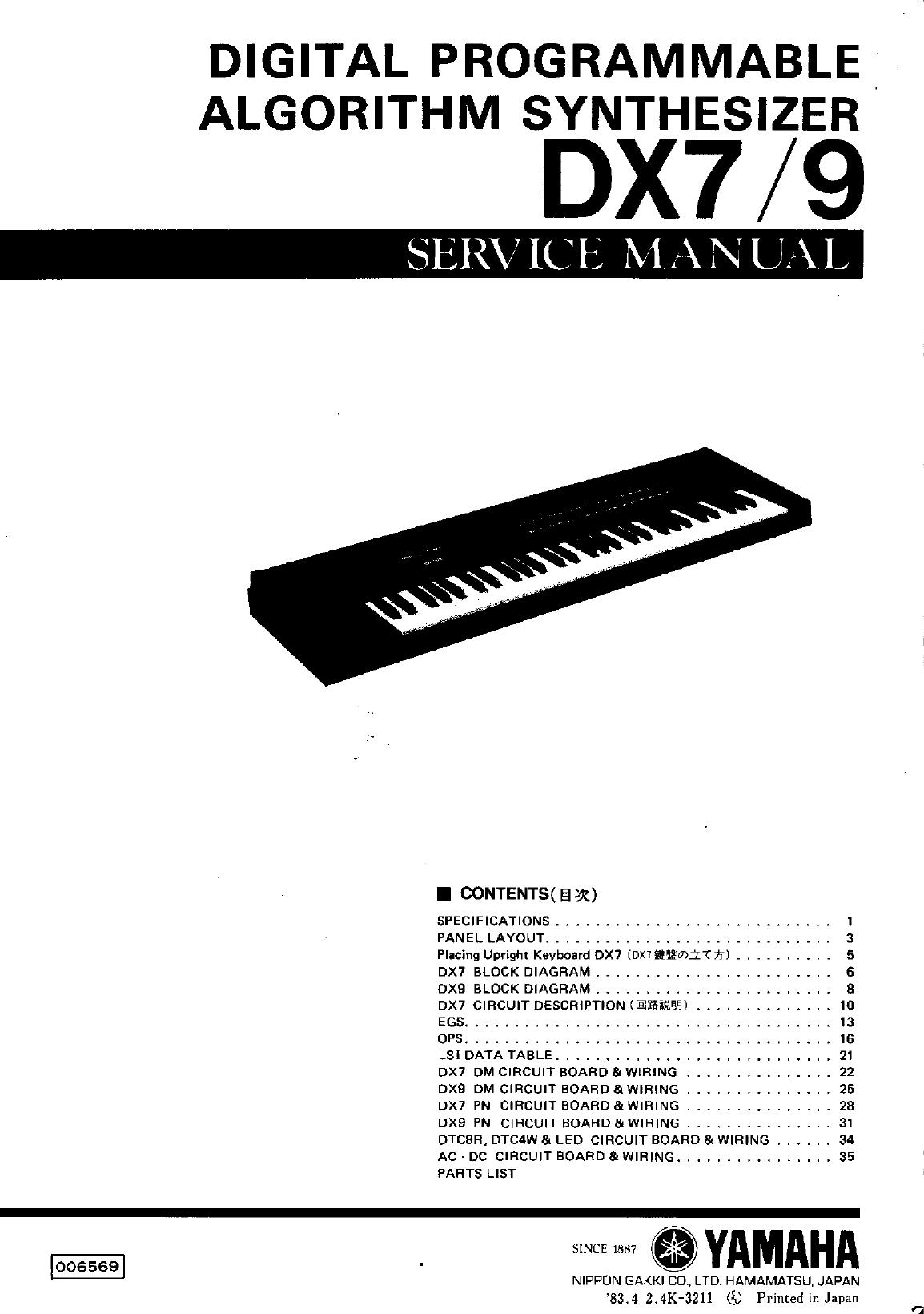 Yamaha Electronic Keyboard Dx7 9 Users Manual Service Wiring Diagram