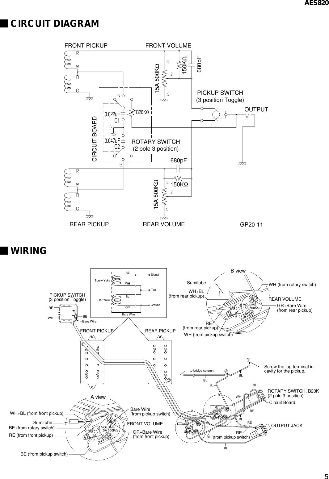 Yamaha Guitar Aes820 Users Manual Humbucker Pickup Wiring Page 5 Of 6