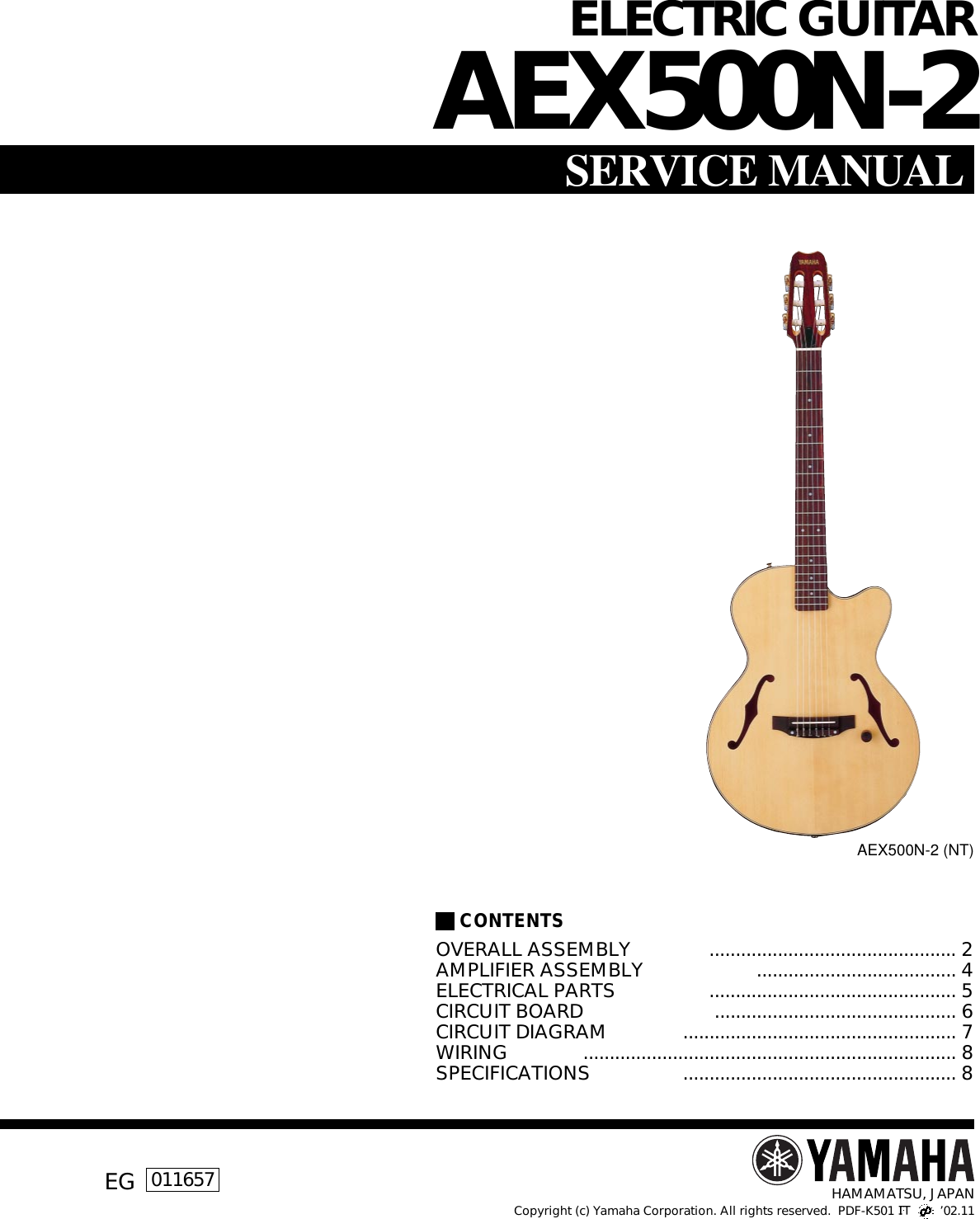 Yamaha Guitar Aex500n 2 Users Manual Electric Strings Diagram