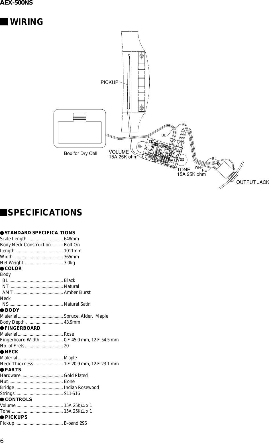 Yamaha Guitar Aex 500ns Users Manual Electric Humbucker Pickup Wiring Page 6 Of