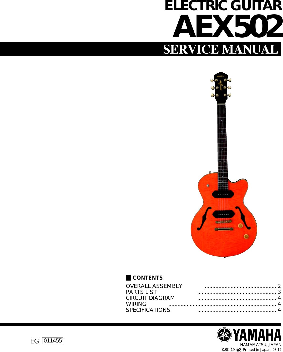 Yamaha Guitar Aex502 Users Manual Electric Humbucker Pickup Wiring